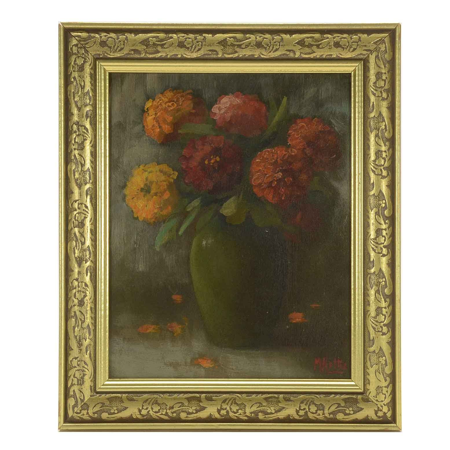Martin Rettig Signed Oil Painting of a Still Life with Flowers