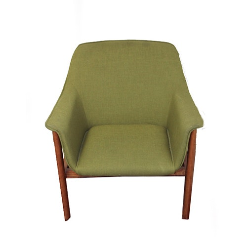 Danish Modern Style Armchair with Green Upholstery