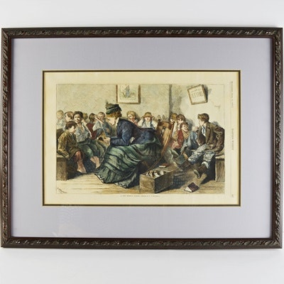 """""""Harpers Weekly"""" Offset Lithograph After C.S. Reinhart's """"A City Mission School"""""""