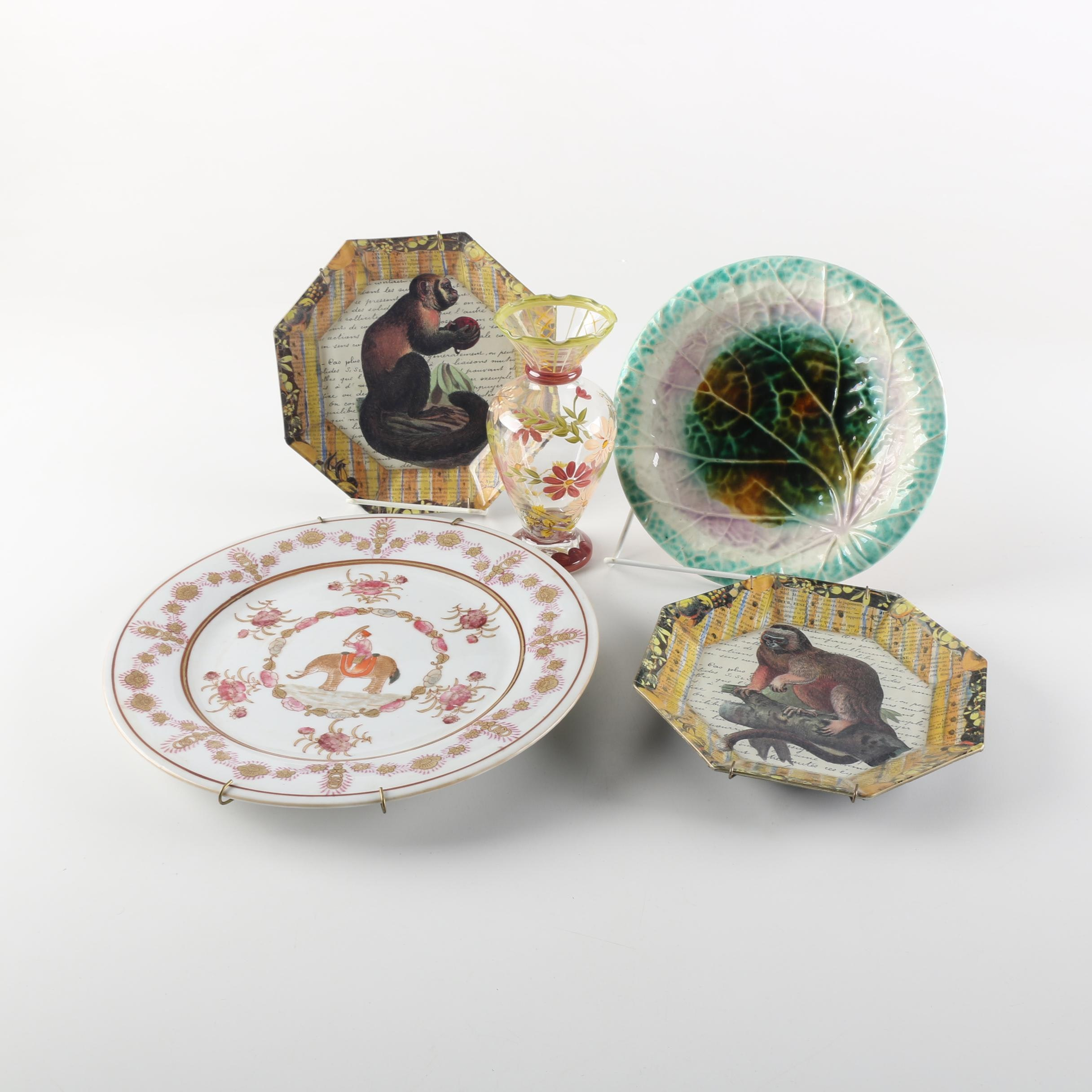 Signed John Derian Plates with Late 19th Century Victorian Majolica Plate