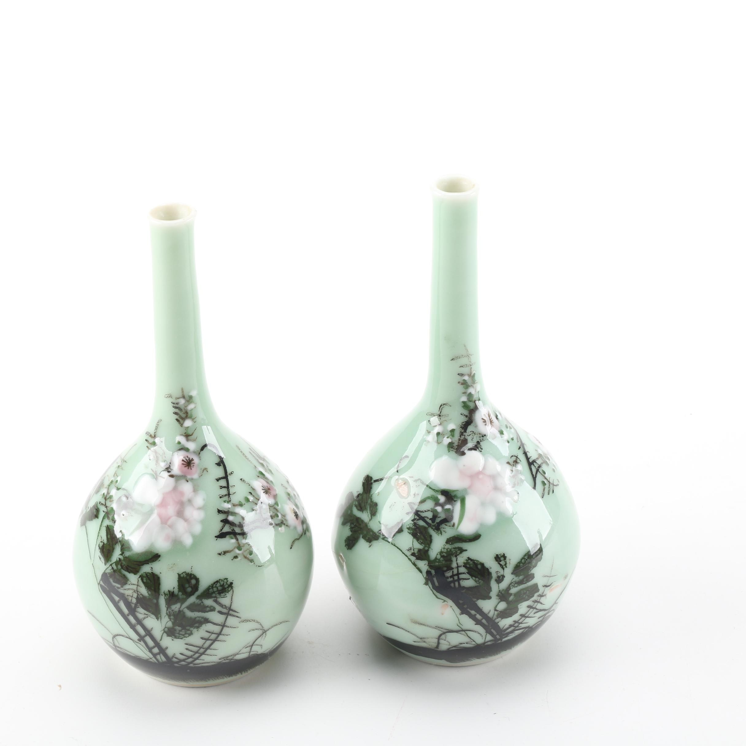 East Asian Style Celadon Bud Vases With Hand-Painted Floral Design