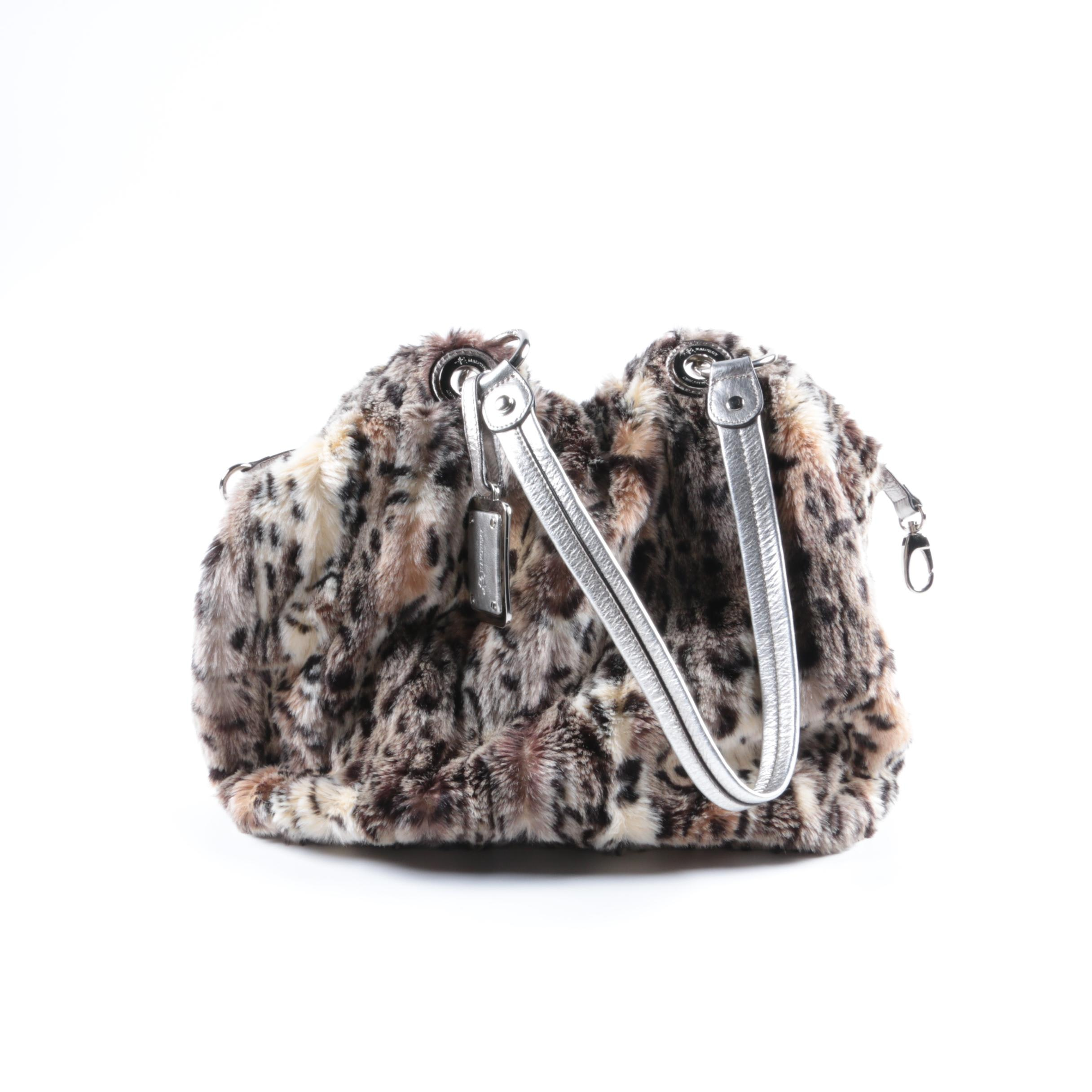 B. Makowsky Silver Leather and Faux Fur Cheetah Shoulder Bag