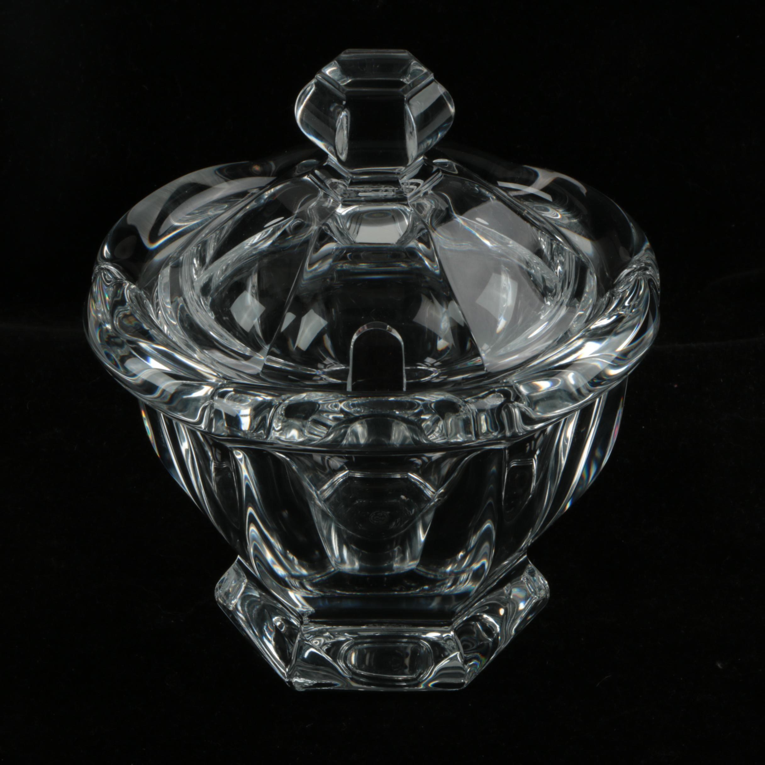 "Baccarat Crystal ""Bretagne"" Jam Jar with Lid"