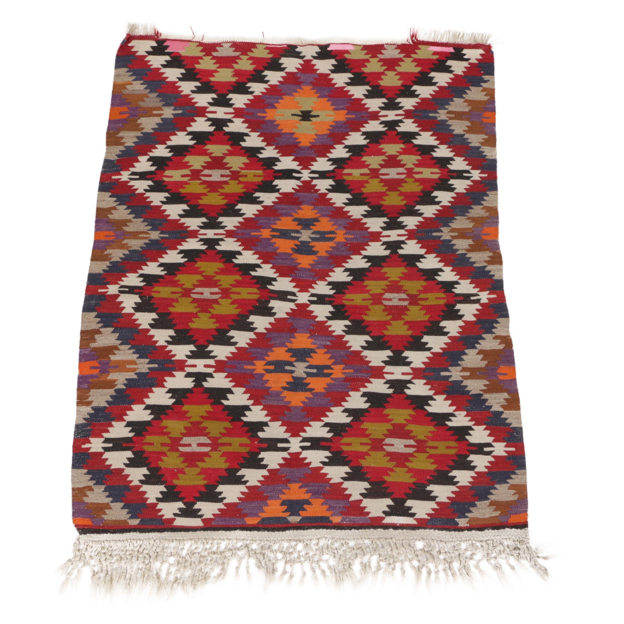 Handwoven Turkish Kilim Wool Accent Rug