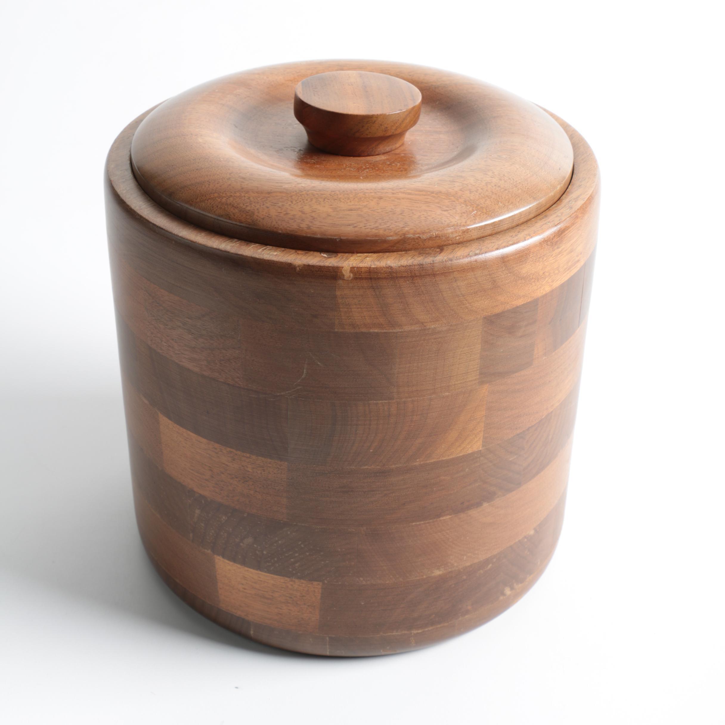 Mid Century Modern Black Walnut Ice Bucket By Kustom Kraft ...
