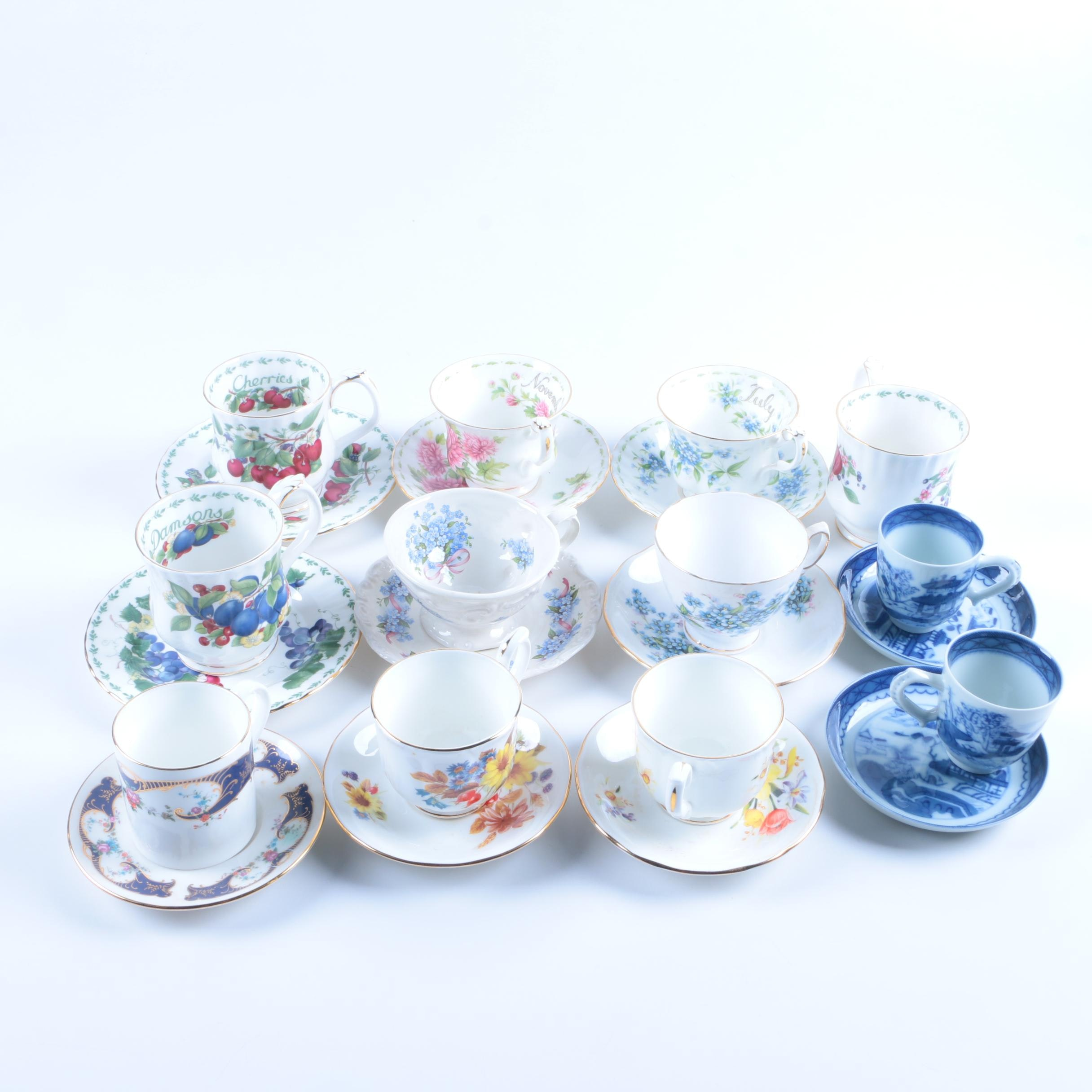 Bone China Teacup and Saucer Collection Including Royal Albert