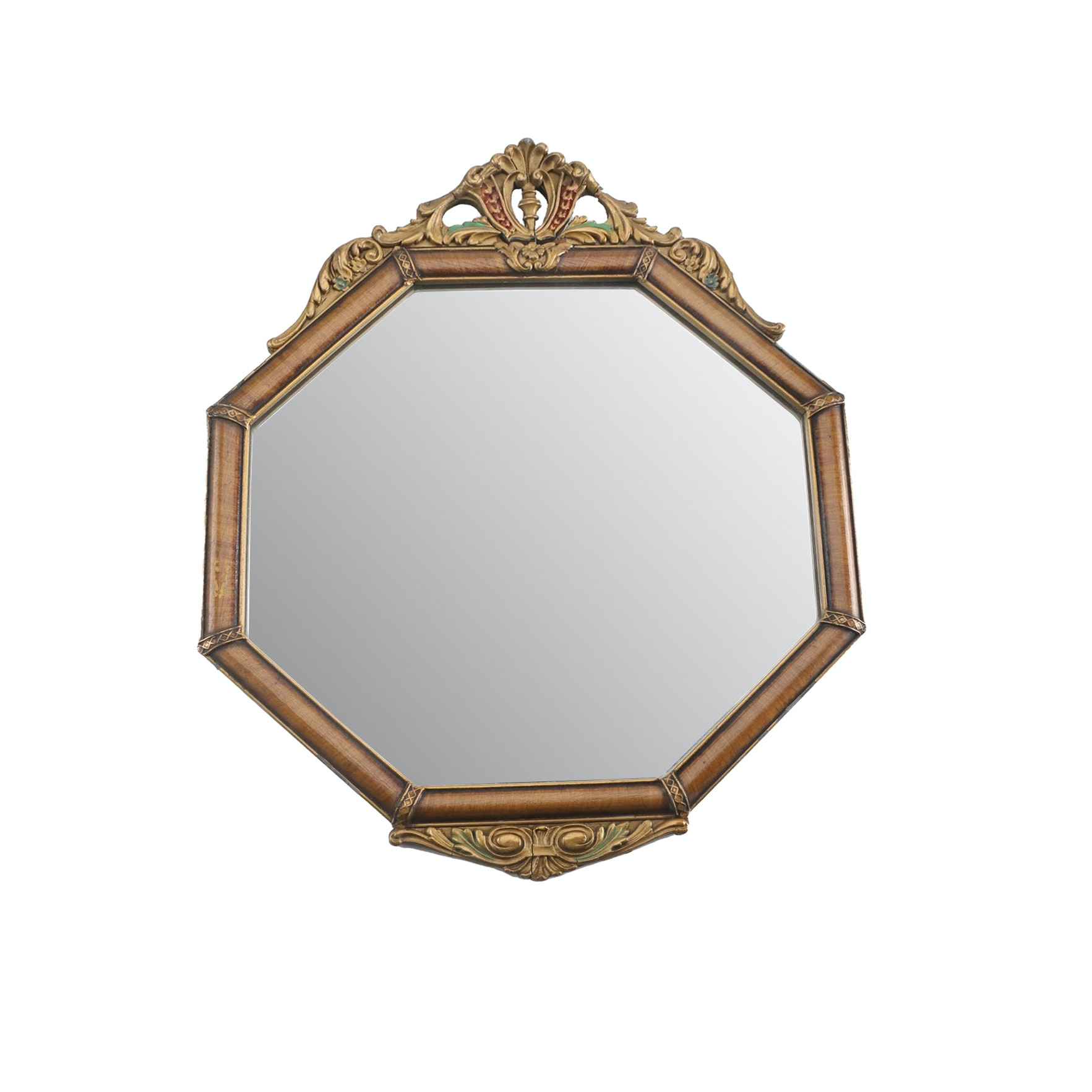 Octagonal Shaped Wood Framed Wall Mirror