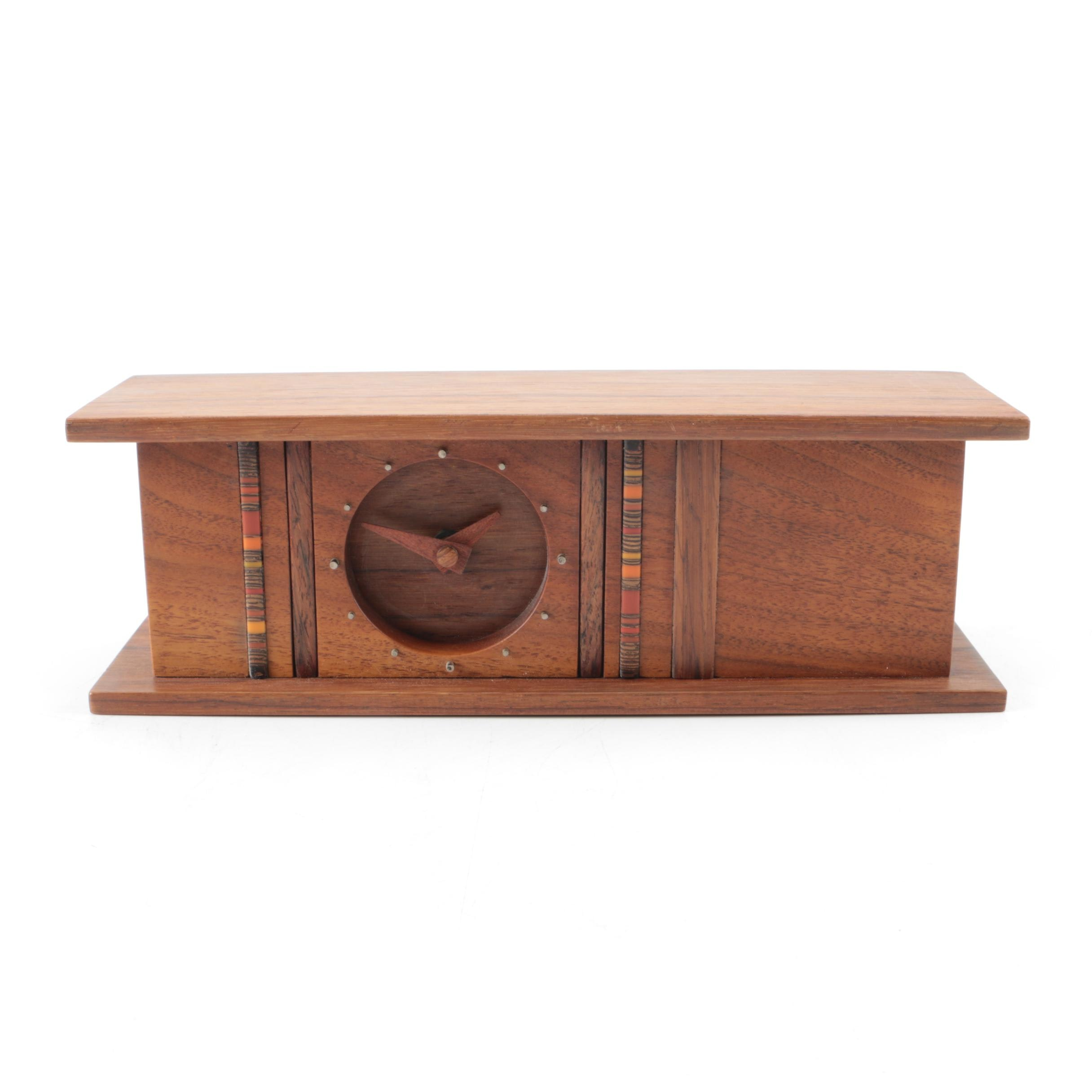 Contemporary Signed Wooden Mantel Clock