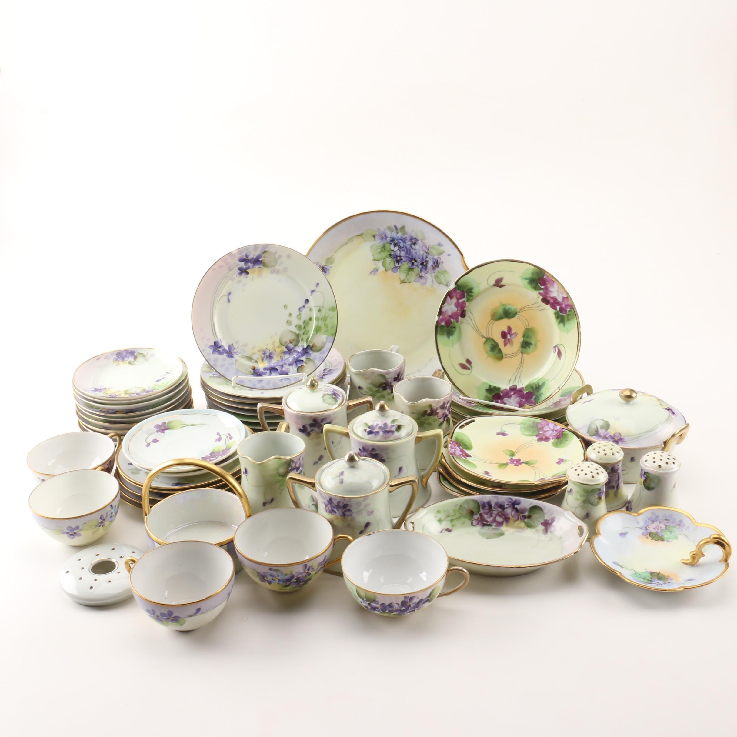 Floral Tableware including antique Moritz Zdekauer