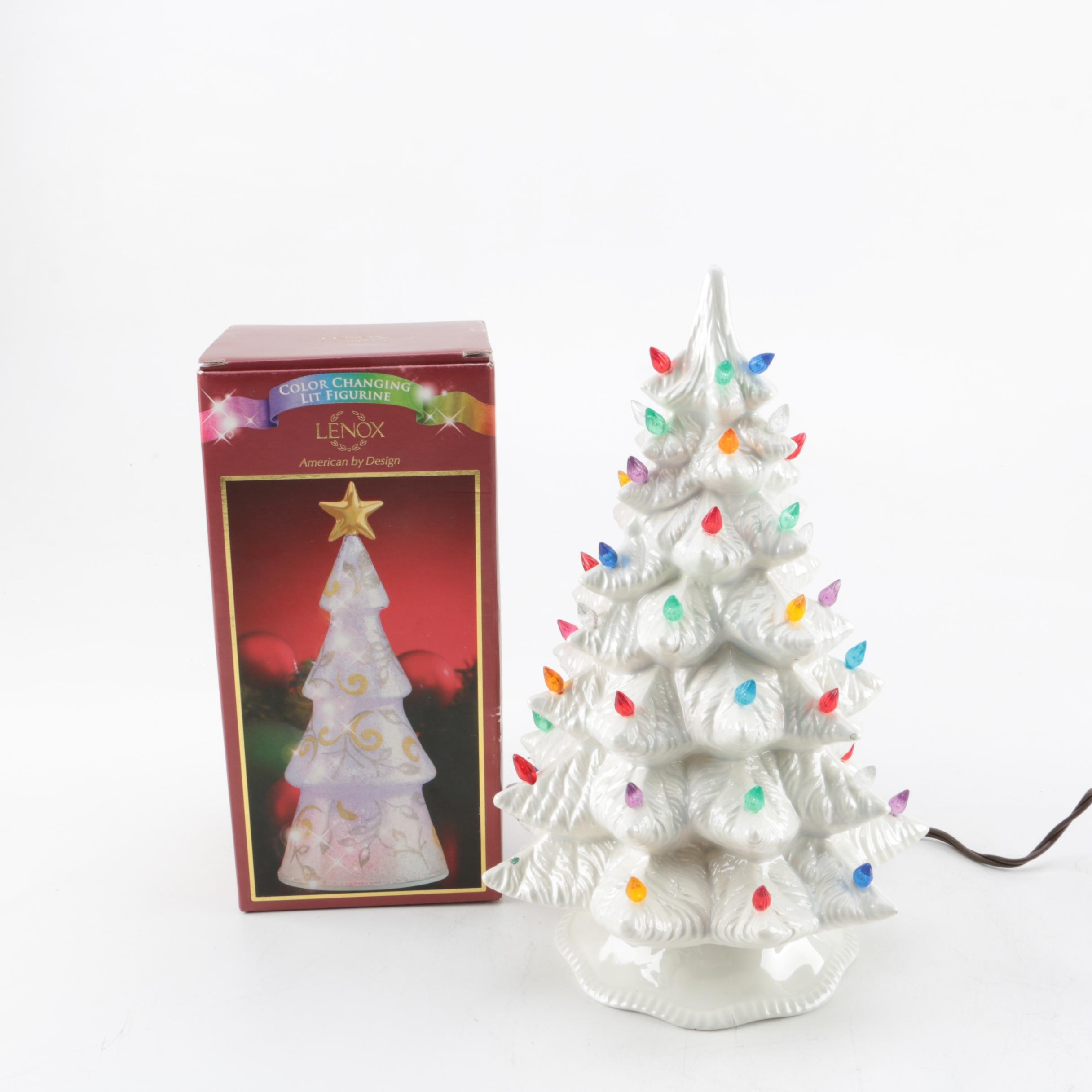 Vintage White Lighted Ceramic Christmas Tree and Lenox Tree