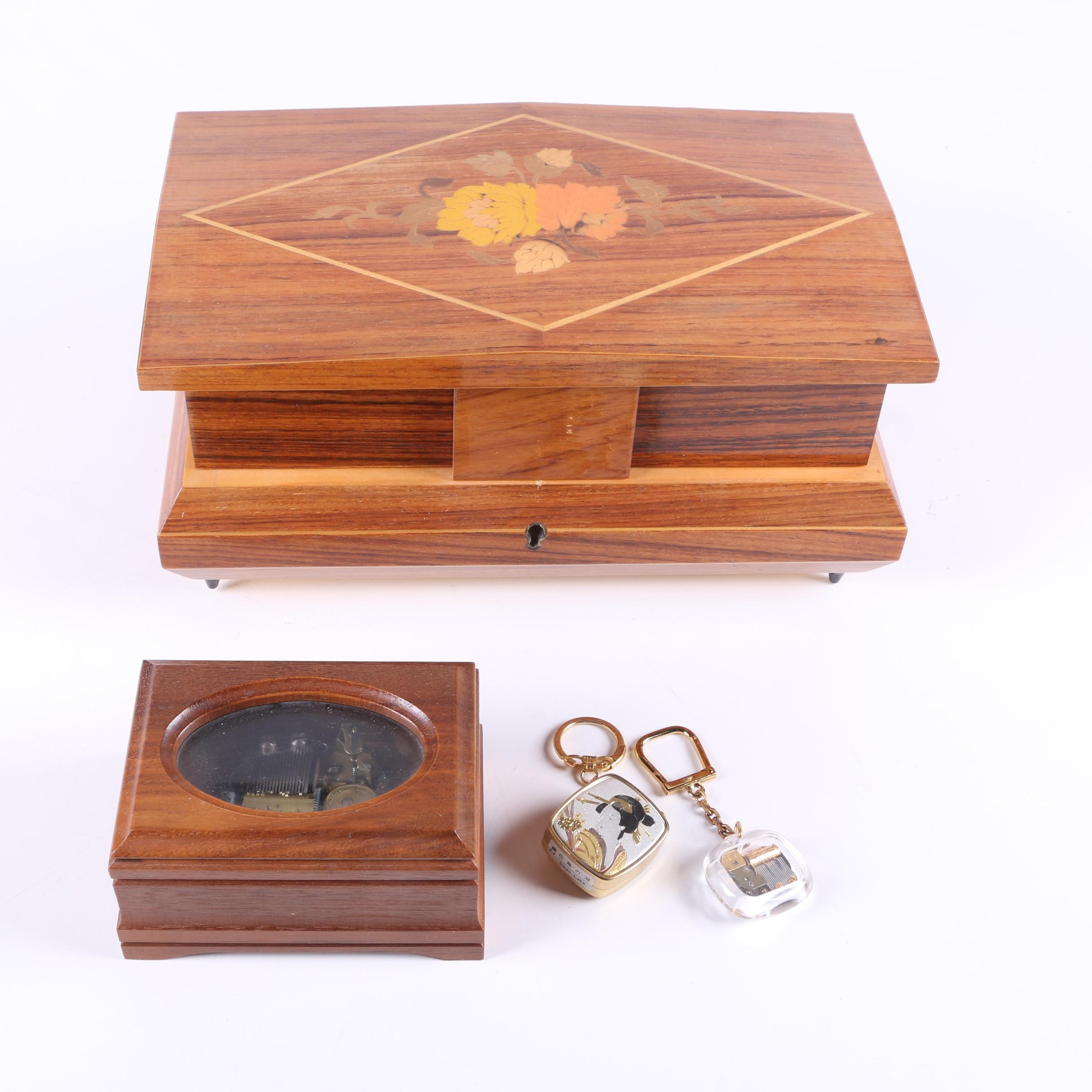 Pair of Reuge Music Boxes and Keychain Music Box