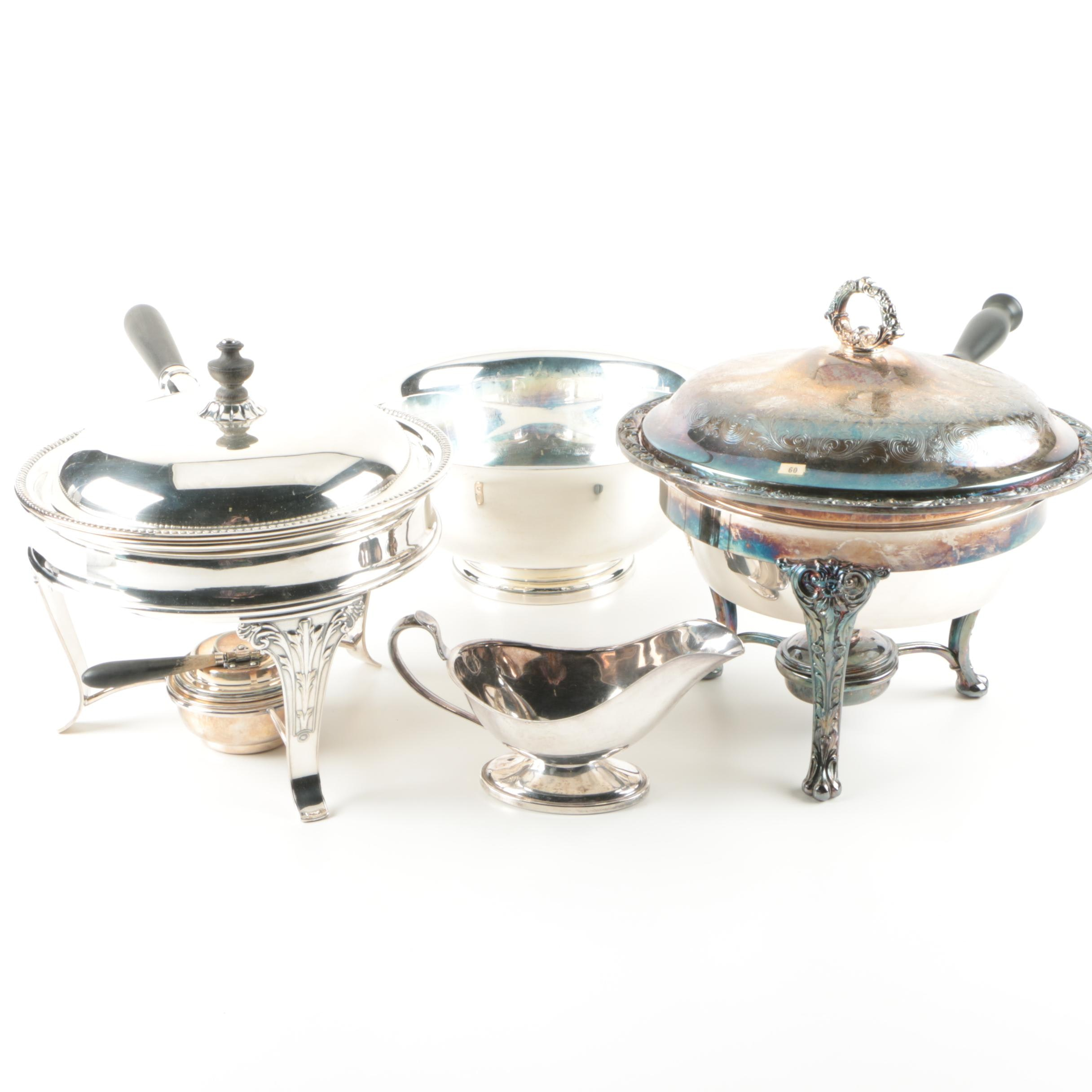 Gorham Silver-Plated Chafing Dishes with Other Serving Ware