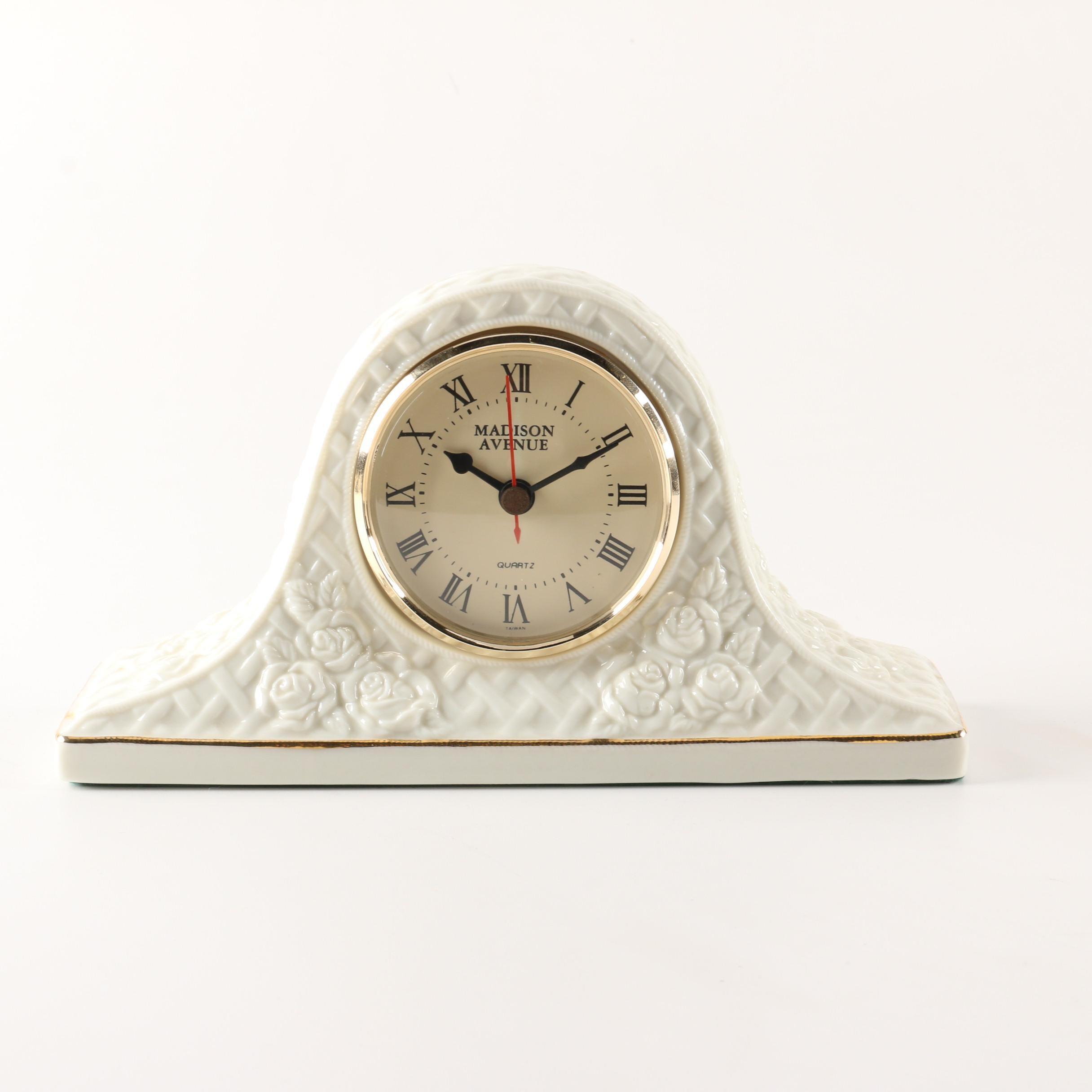 Madison Avenue White Porcelain Tambour Mantel Clock