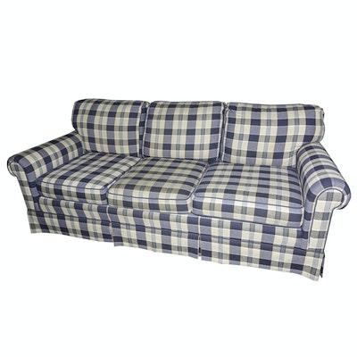 Plush Slate Gray Velour Sofa By Rowe Furniture Ebth