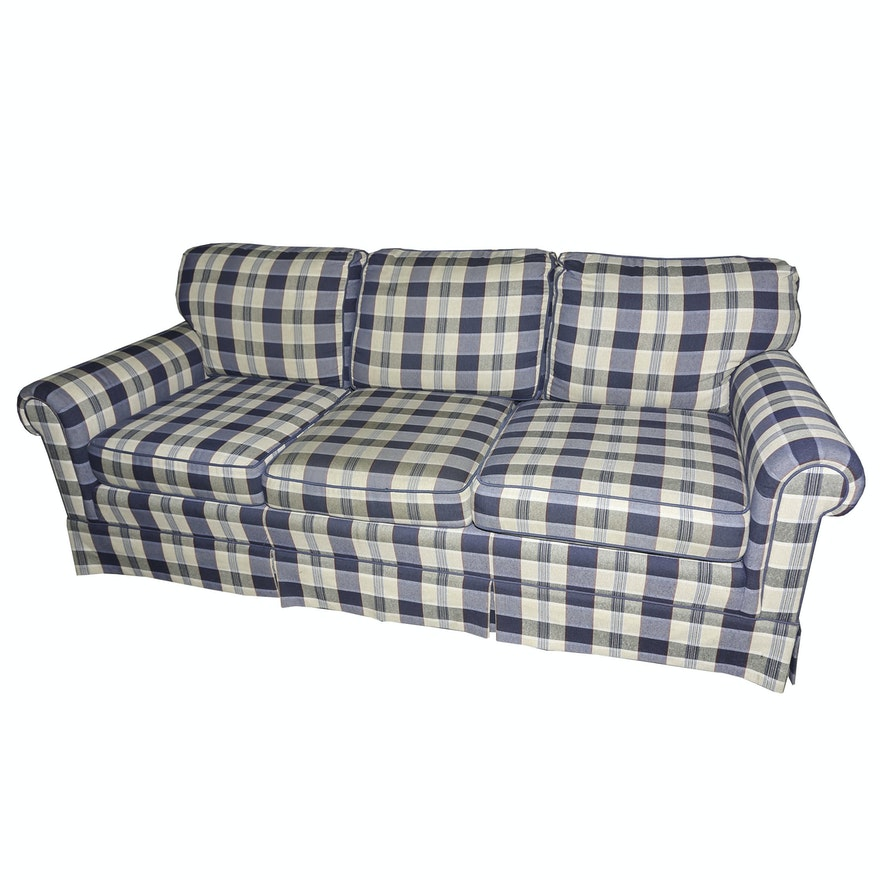 Traditional Plaid Sofa By Wesley Hall