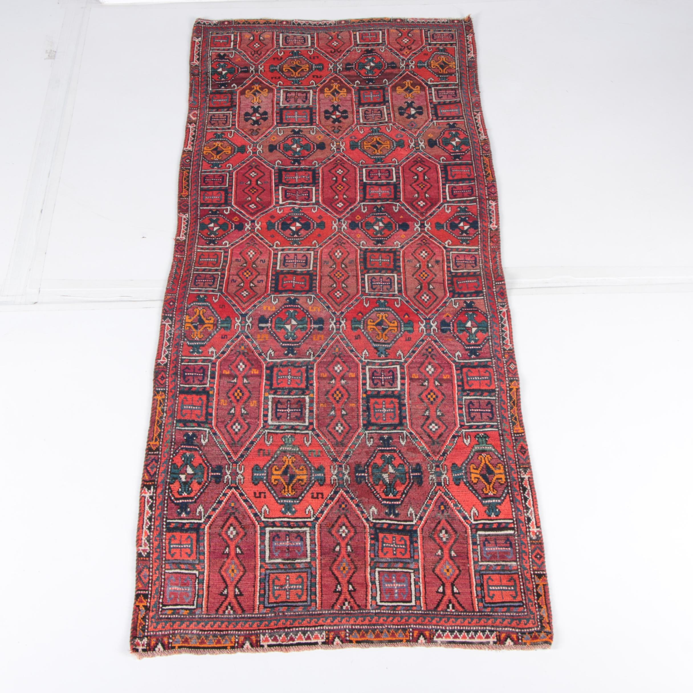 Hand-Knotted Caucasian Tribal Long Rug