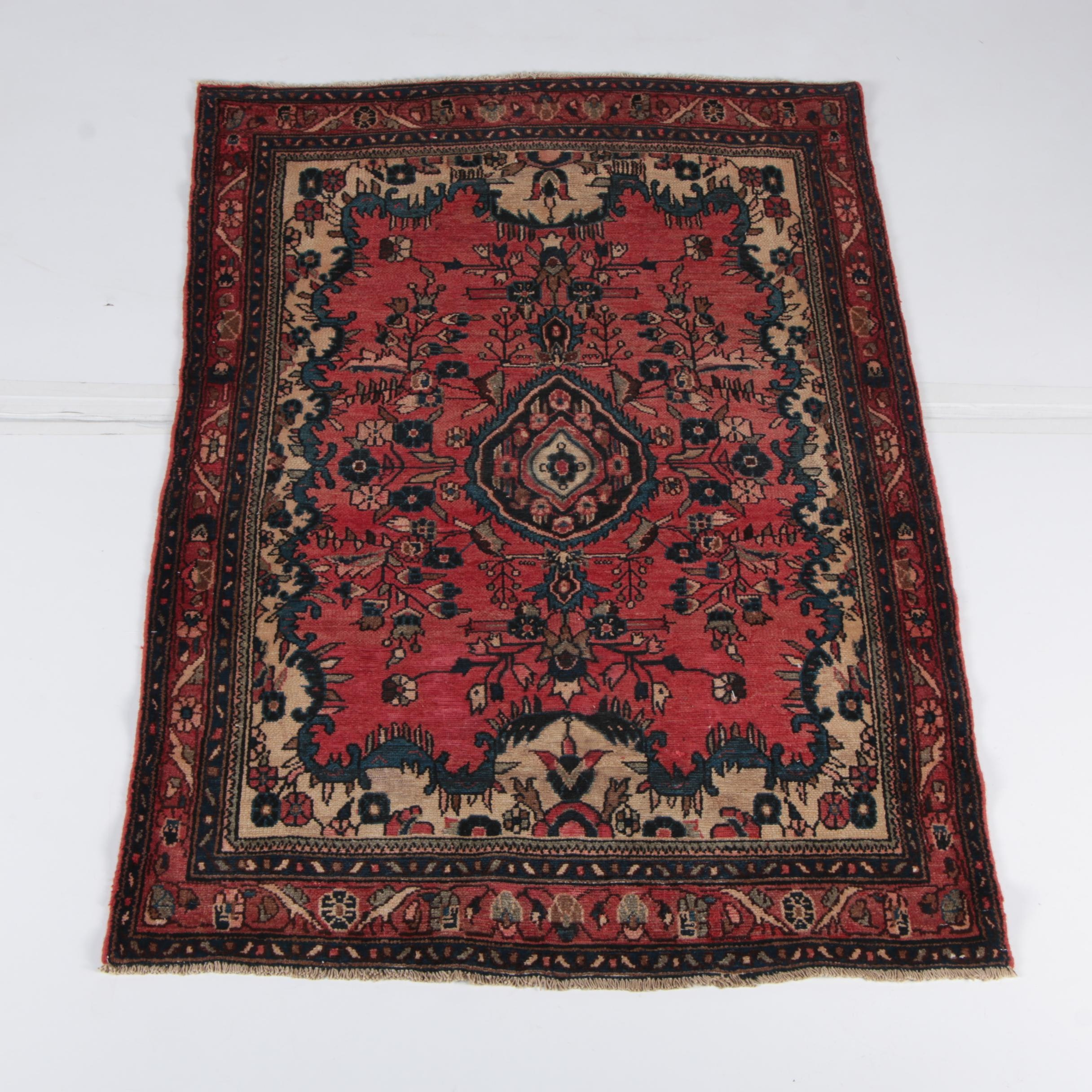 Hand-Knotted Persian Malayer Wool Accent Rug