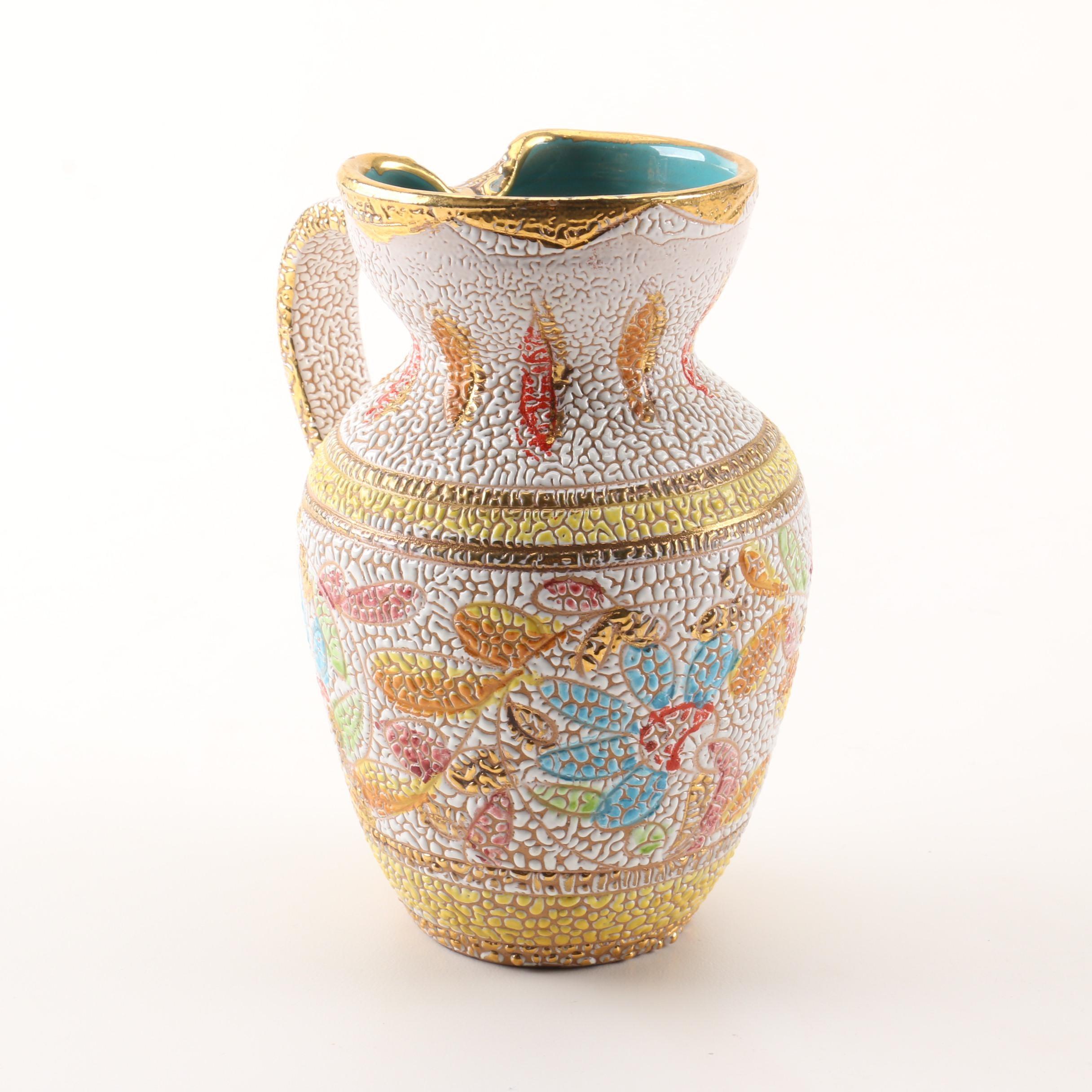 Mid Century Modern Signed Beaded Glaze Art Pottery Vase