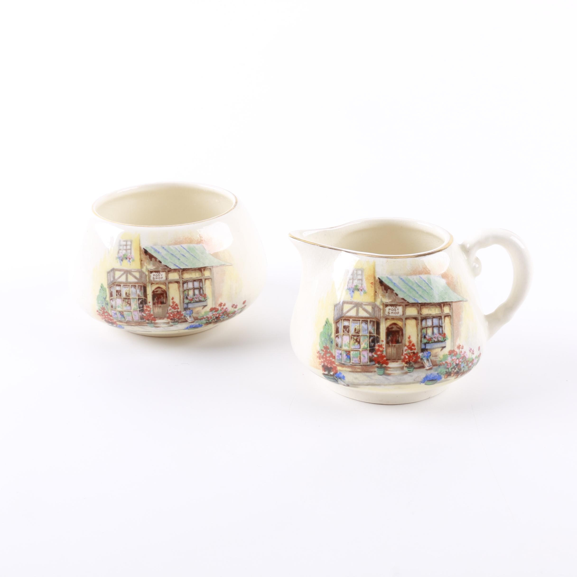 Sandland Ware Stoneware Stacking Creamer and Sugar Bowl