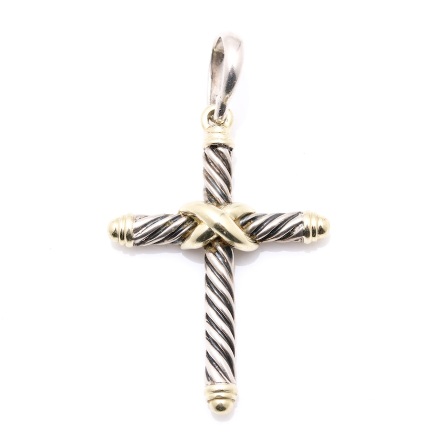 David yurman 14k yellow gold and sterling silver cable cross pendant aloadofball Images