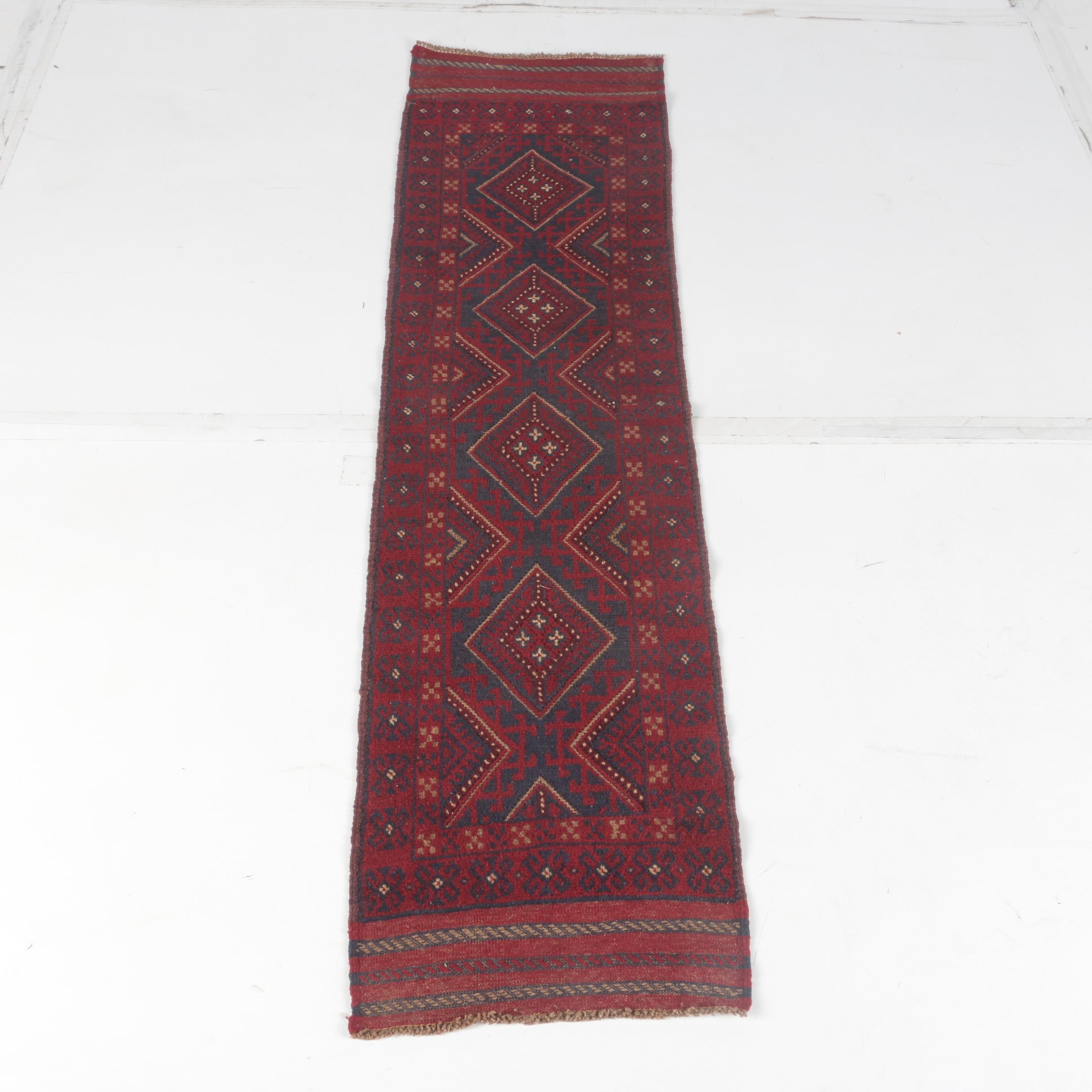 Hand-Knotted and Embroidered Baluch Carpet Runner