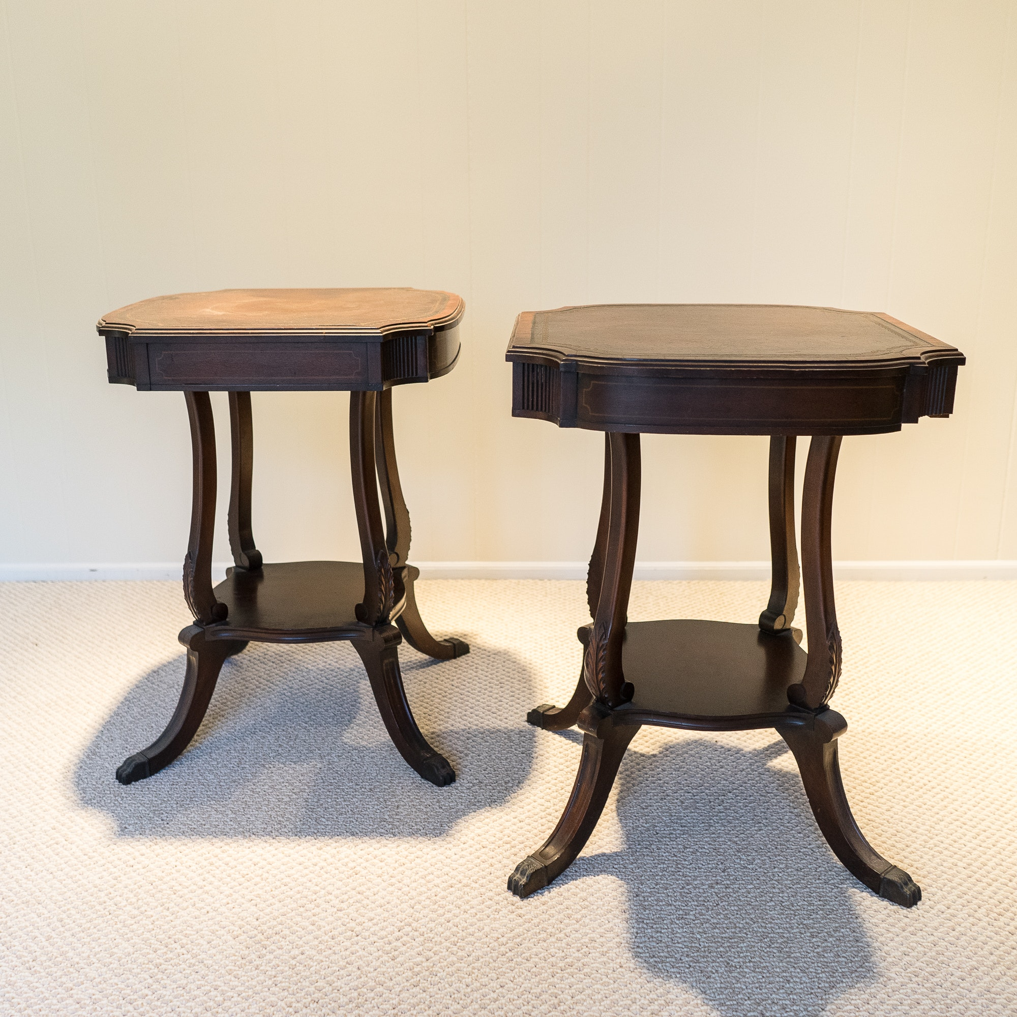 Vintage Leather Top End Tables ...