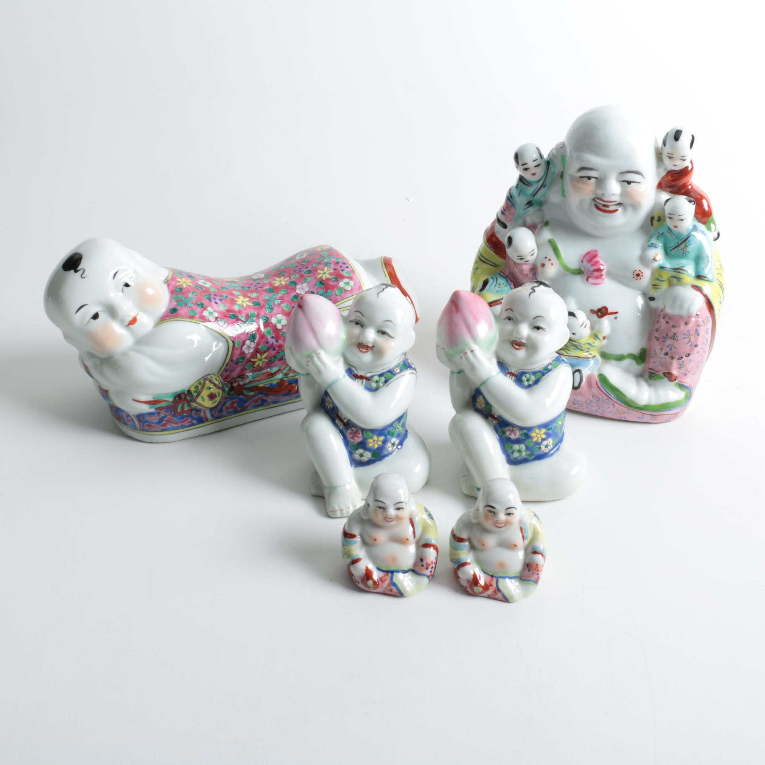 Collection of Porcelain Buddha Figurines