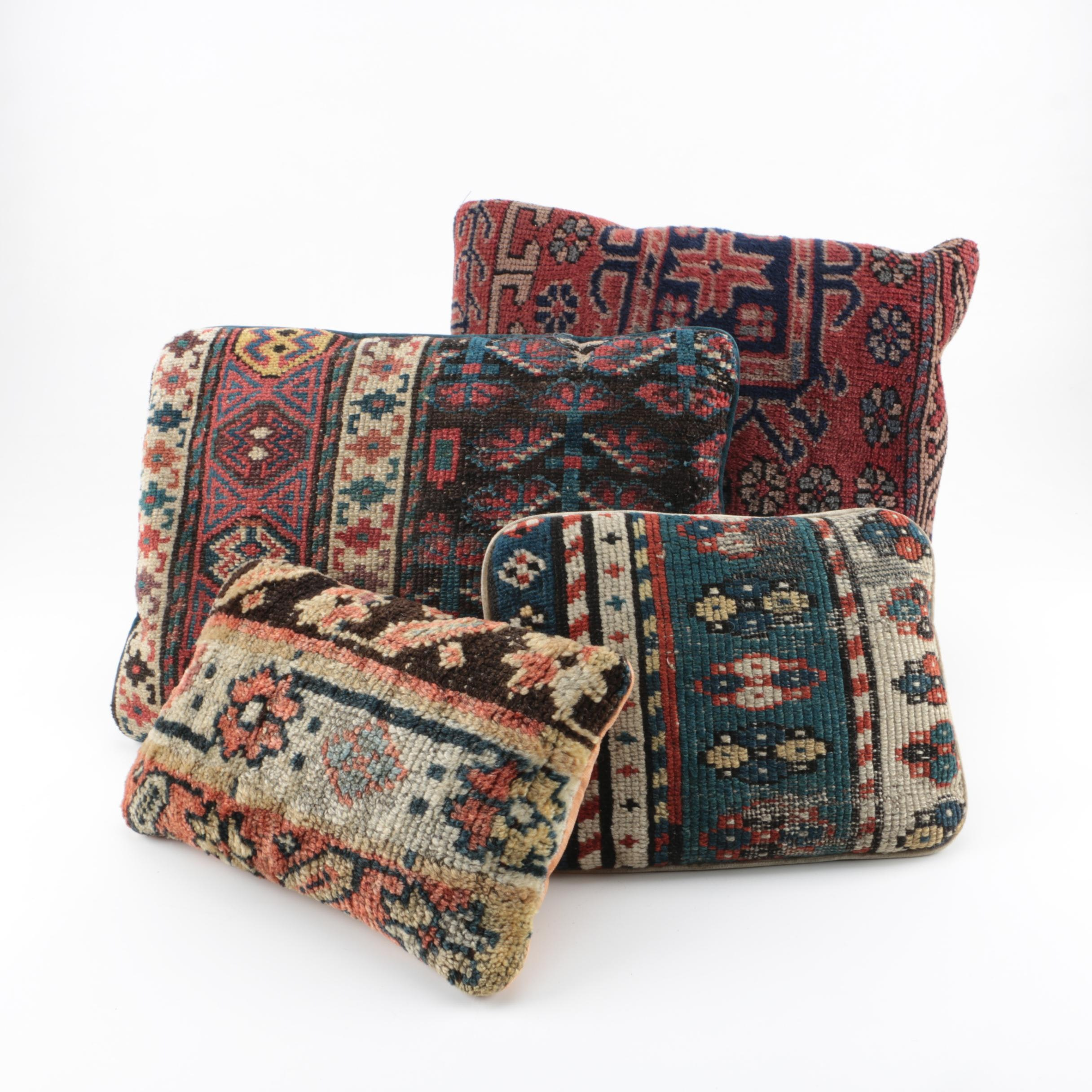 Handwoven Central Asian Rug Throw Pillows