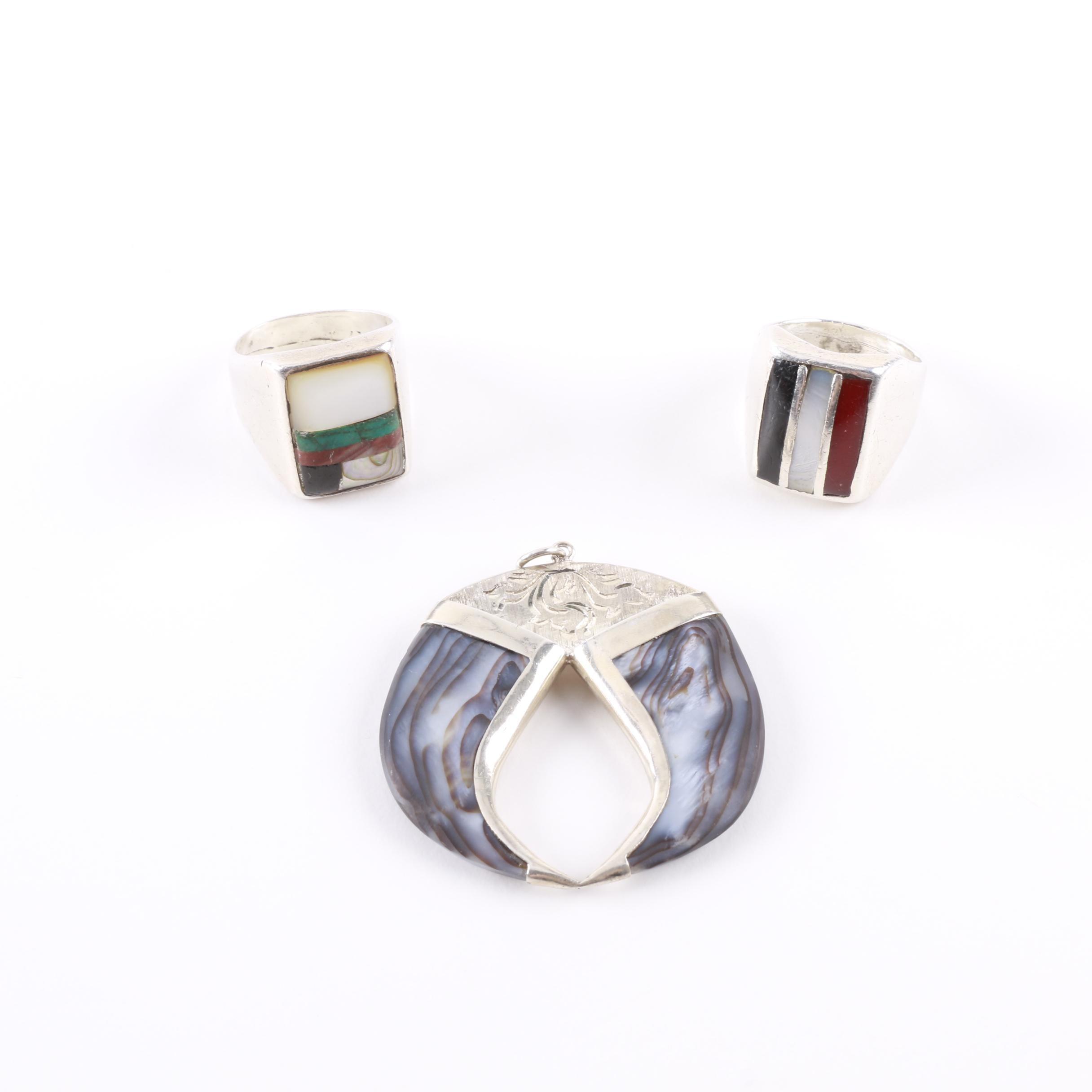 Selection of Sterling Silver Rings Including Pendant