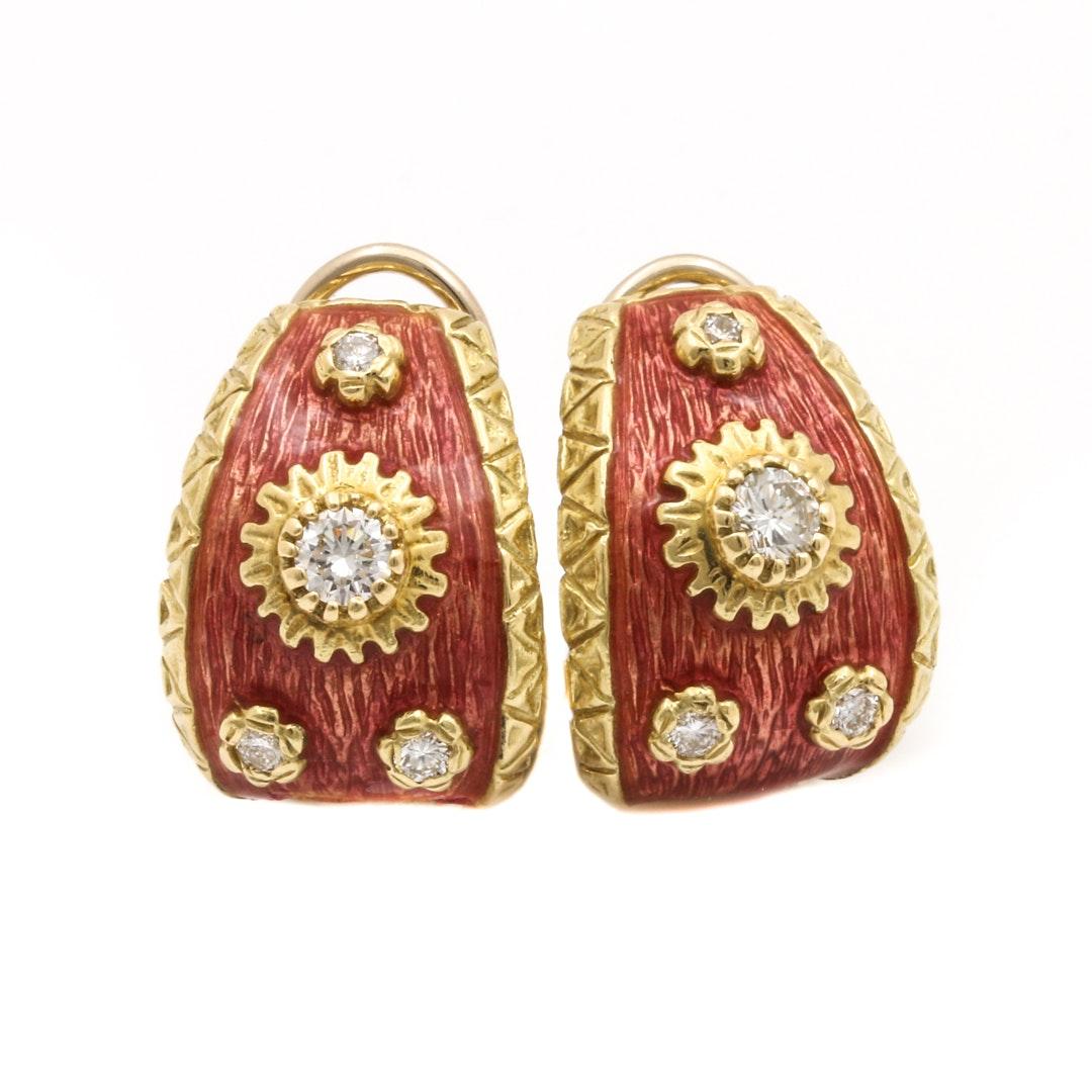 Boris Le Beau 18K Yellow Gold Diamond and Enamel Earrings