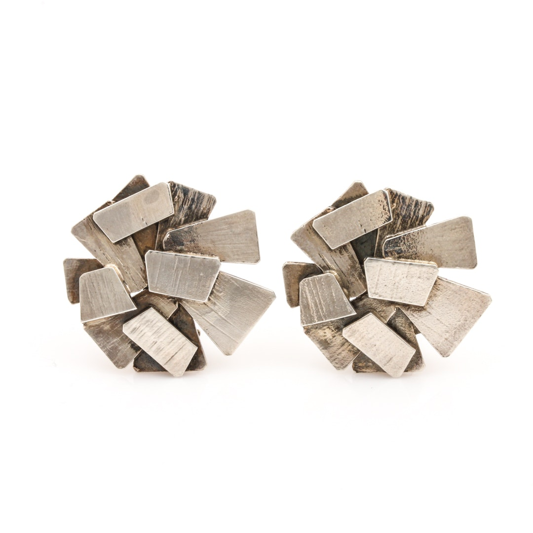 Rey Urbain for A. Fausing Modernist Sterling Silver Earrings