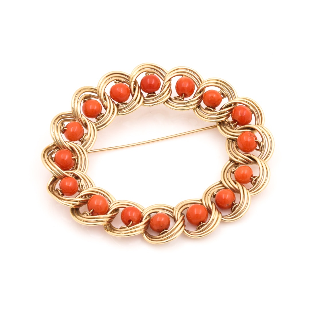 14K Yellow Gold Coral Brooch