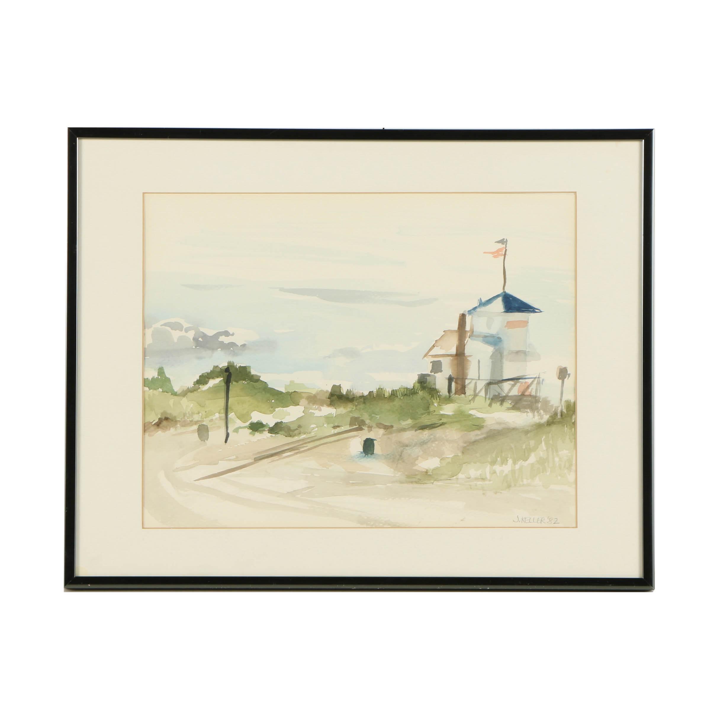 J. Keller 1982 Watercolor Painting on Paper of Seaside Railroad Crossing