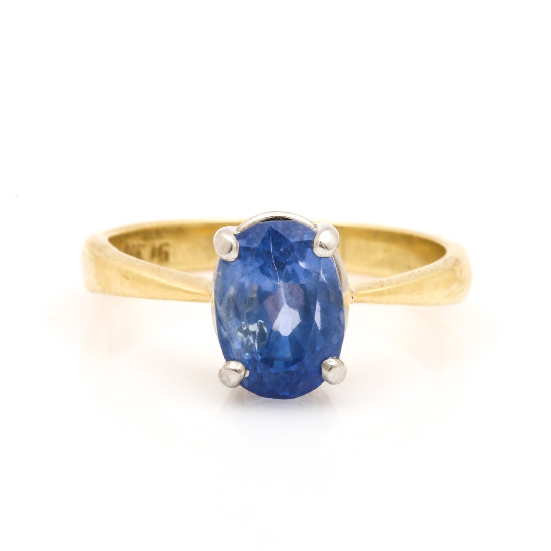 18K Yellow Gold and Platinum 2.52 CT Sapphire Solitaire Ring