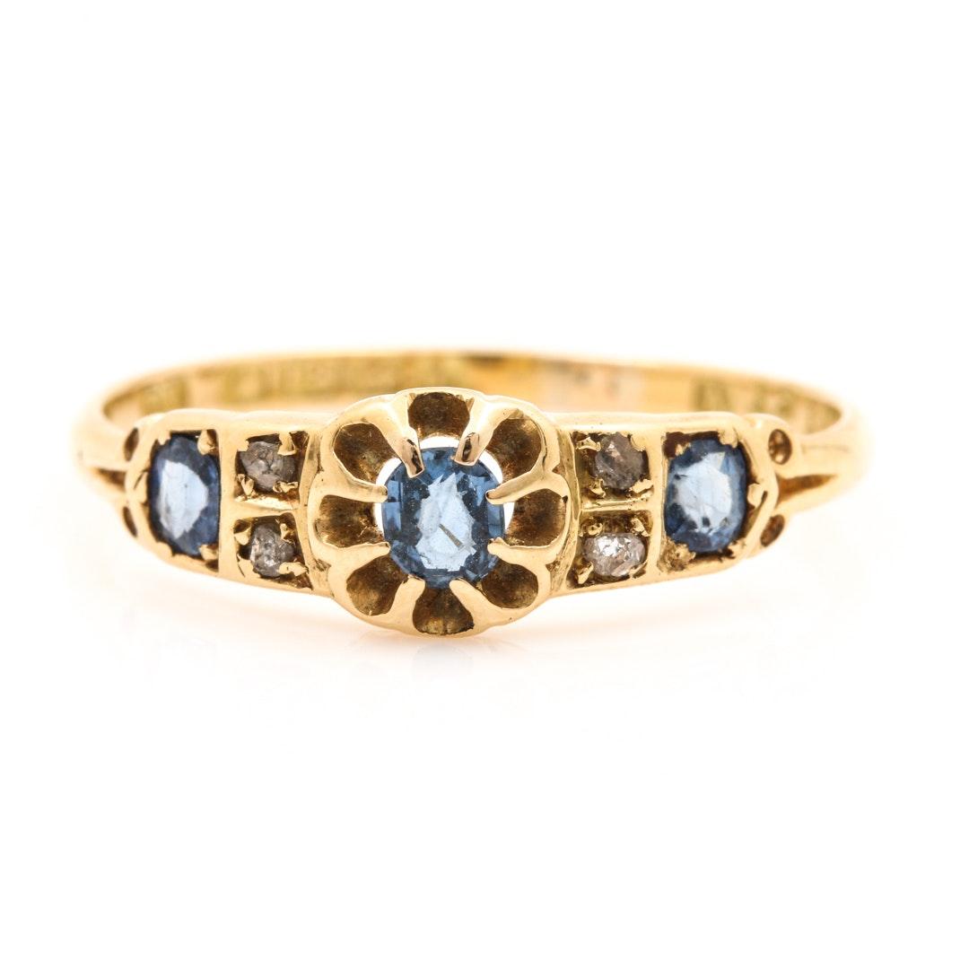 Edwardian 18K Yellow Gold Sapphire and Diamond Ring