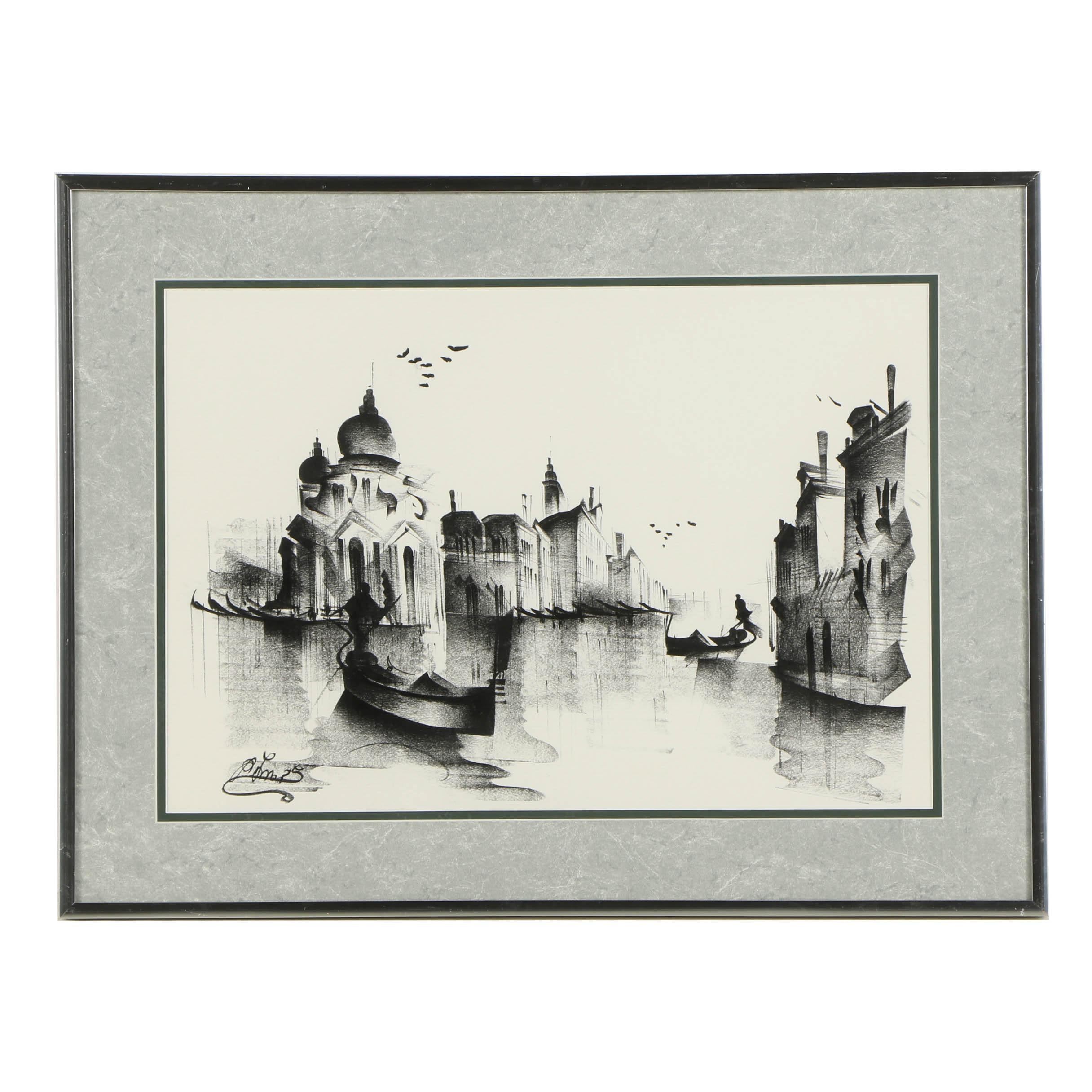 Ink Drawing of Venetian Scene