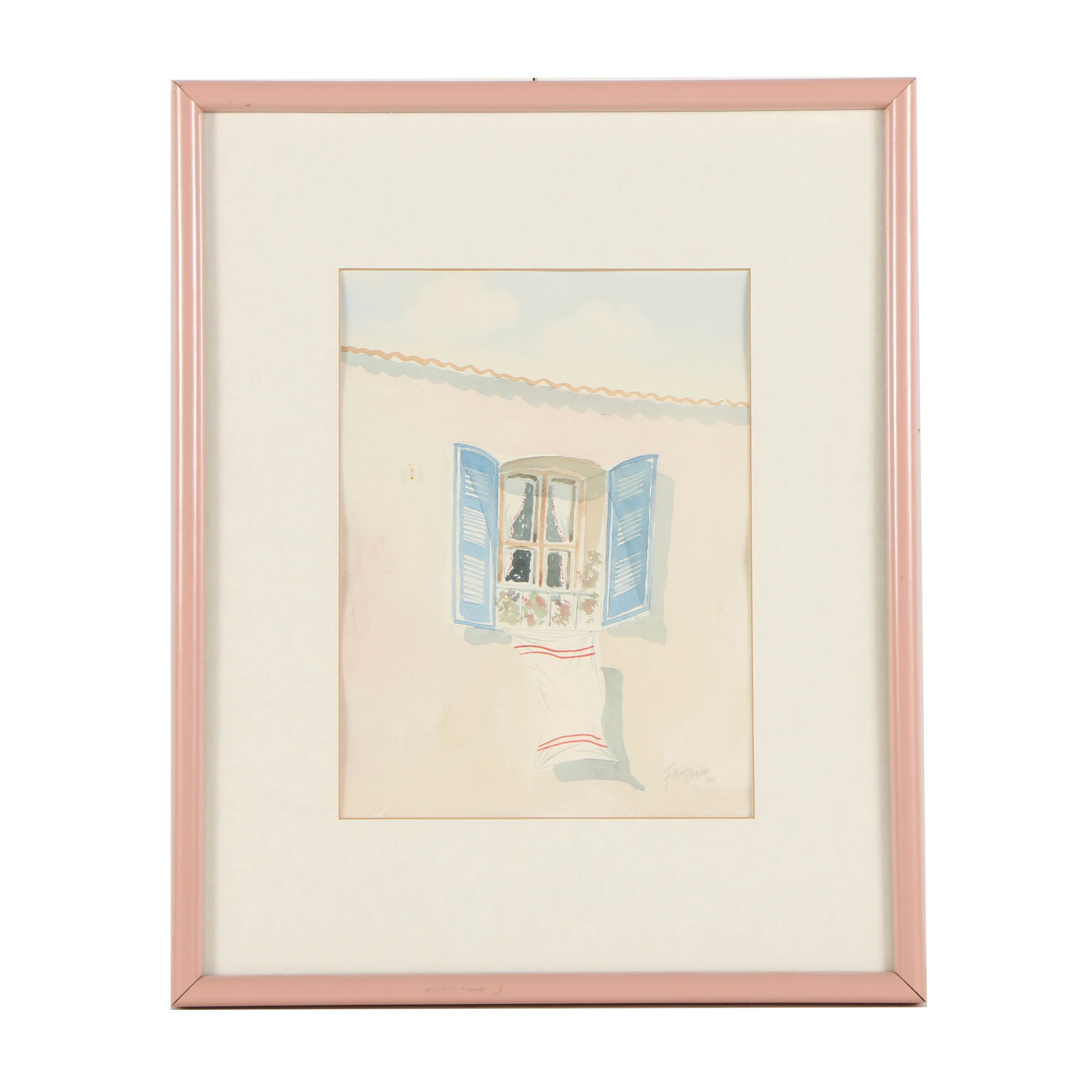 Watercolor Painting on Paper of an Open Window