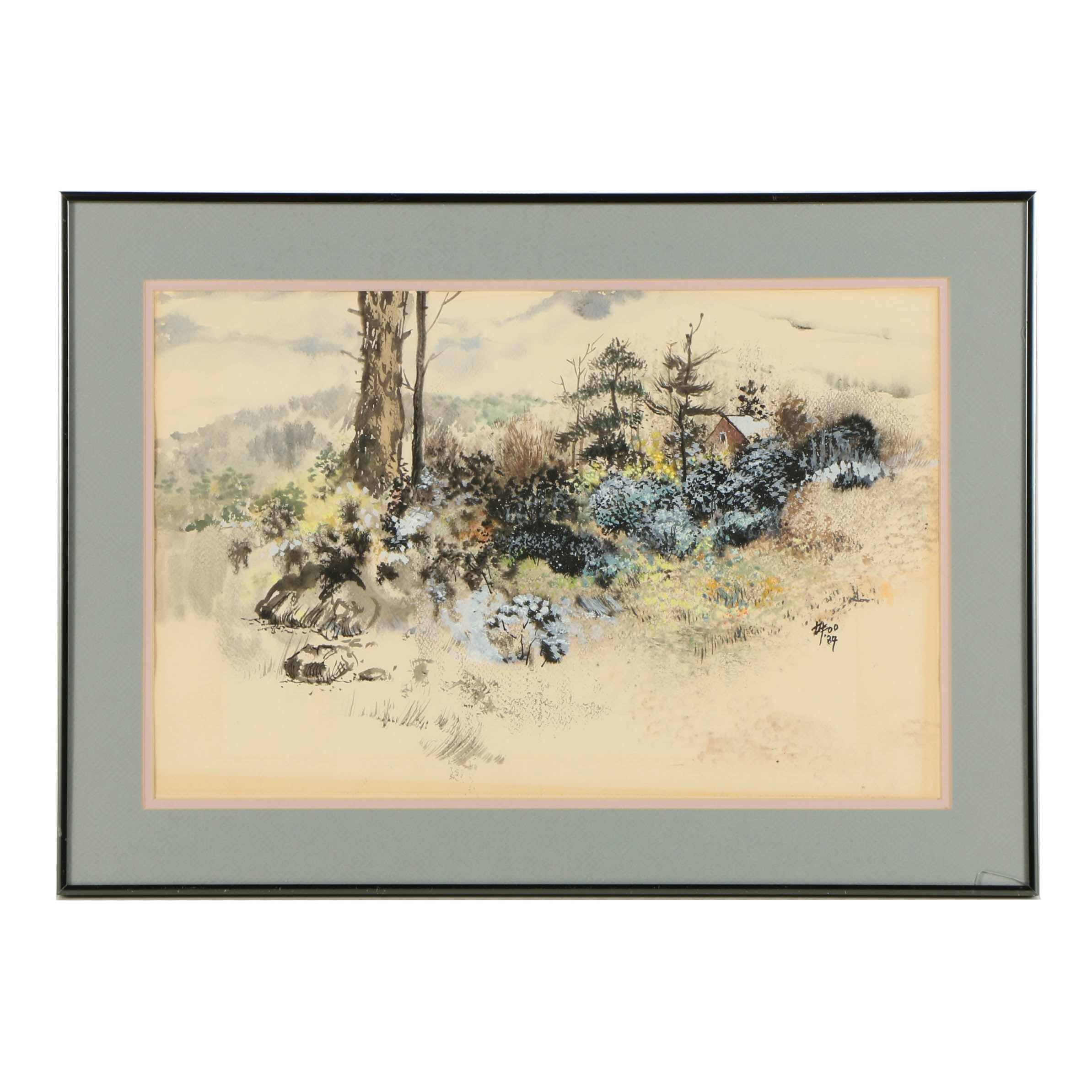 Hong Foo Ink and Watercolor Illustration on Paper of Cabin in Wooded Landscape