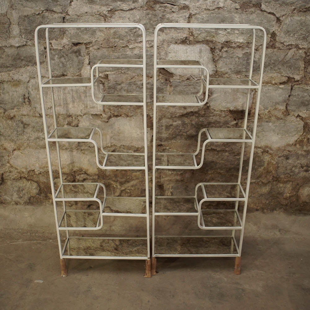 Mid Century Modern Style Open Metal and Glass Shelving Units