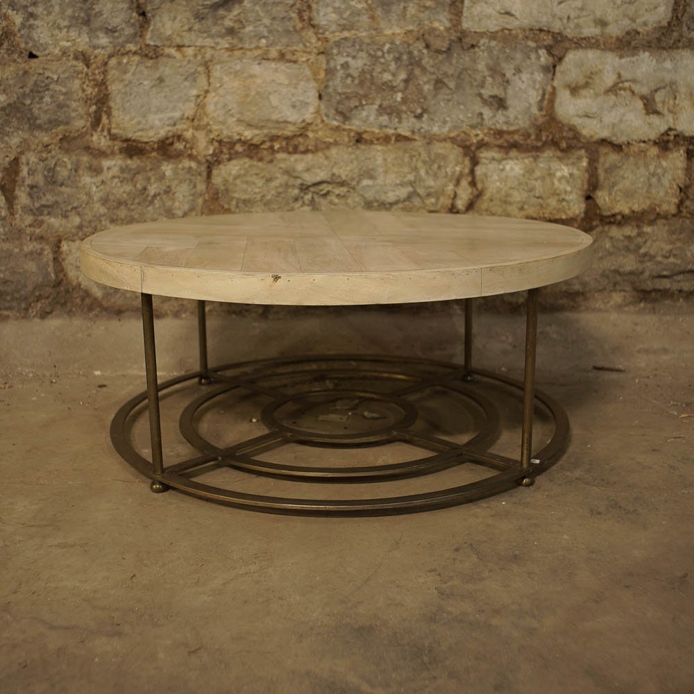 Round Coffee Table with Parquetry Top and Metal Base