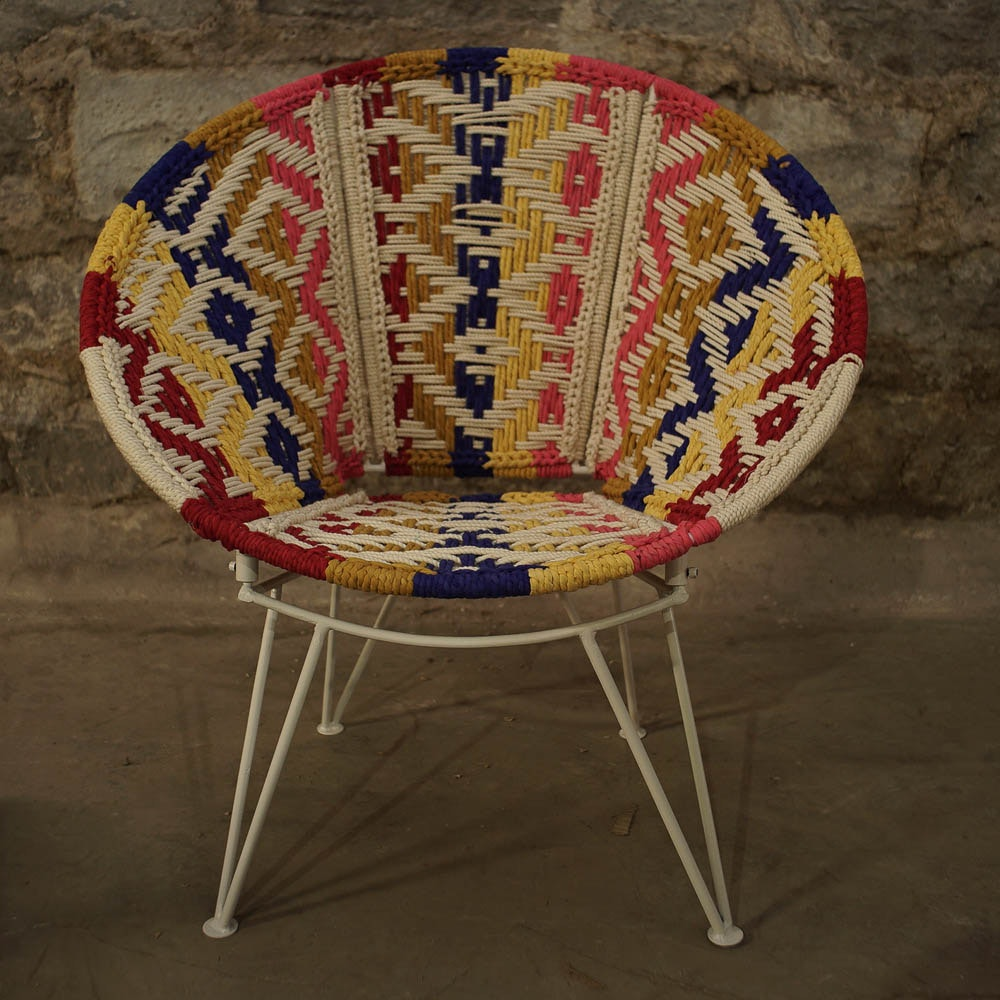 Geometric Pattern Woven Saucer Chair ...