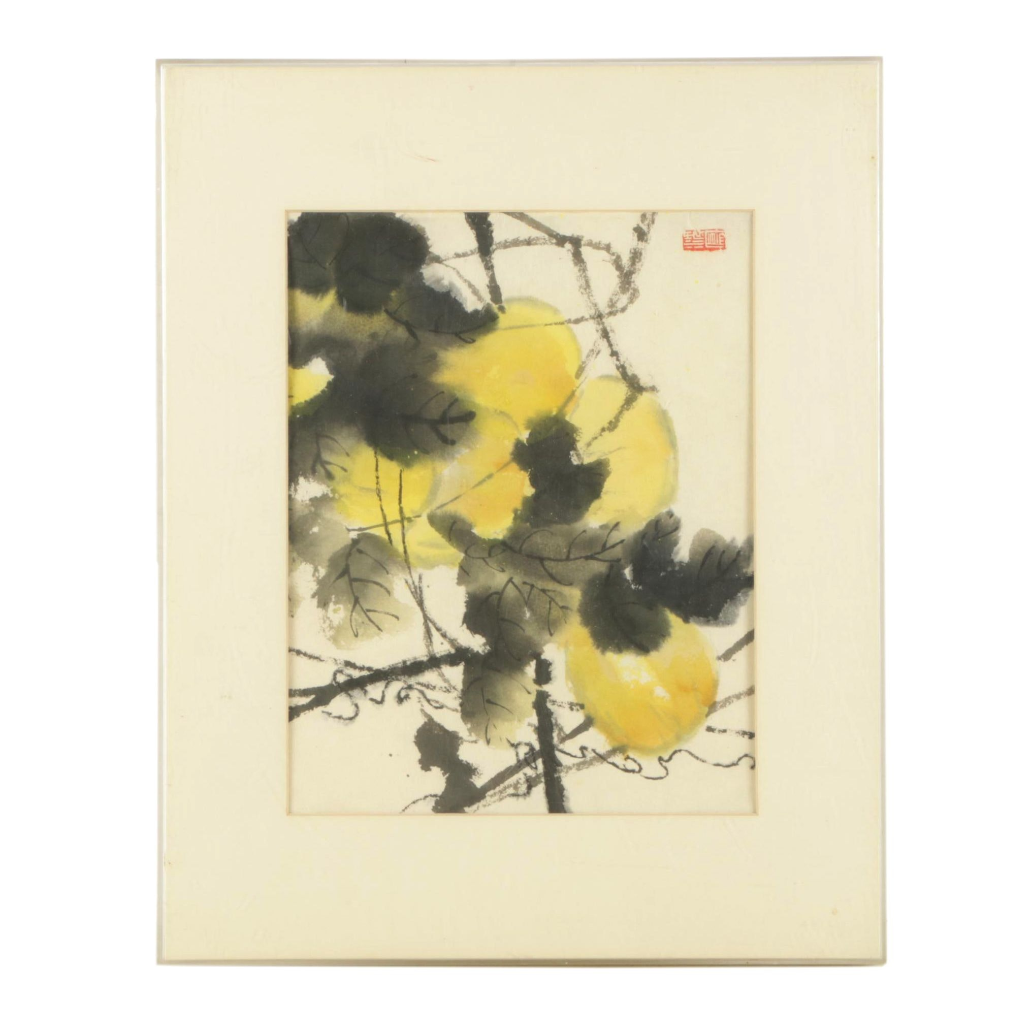 Sun Fong  Watercolor on Paper of Foliage