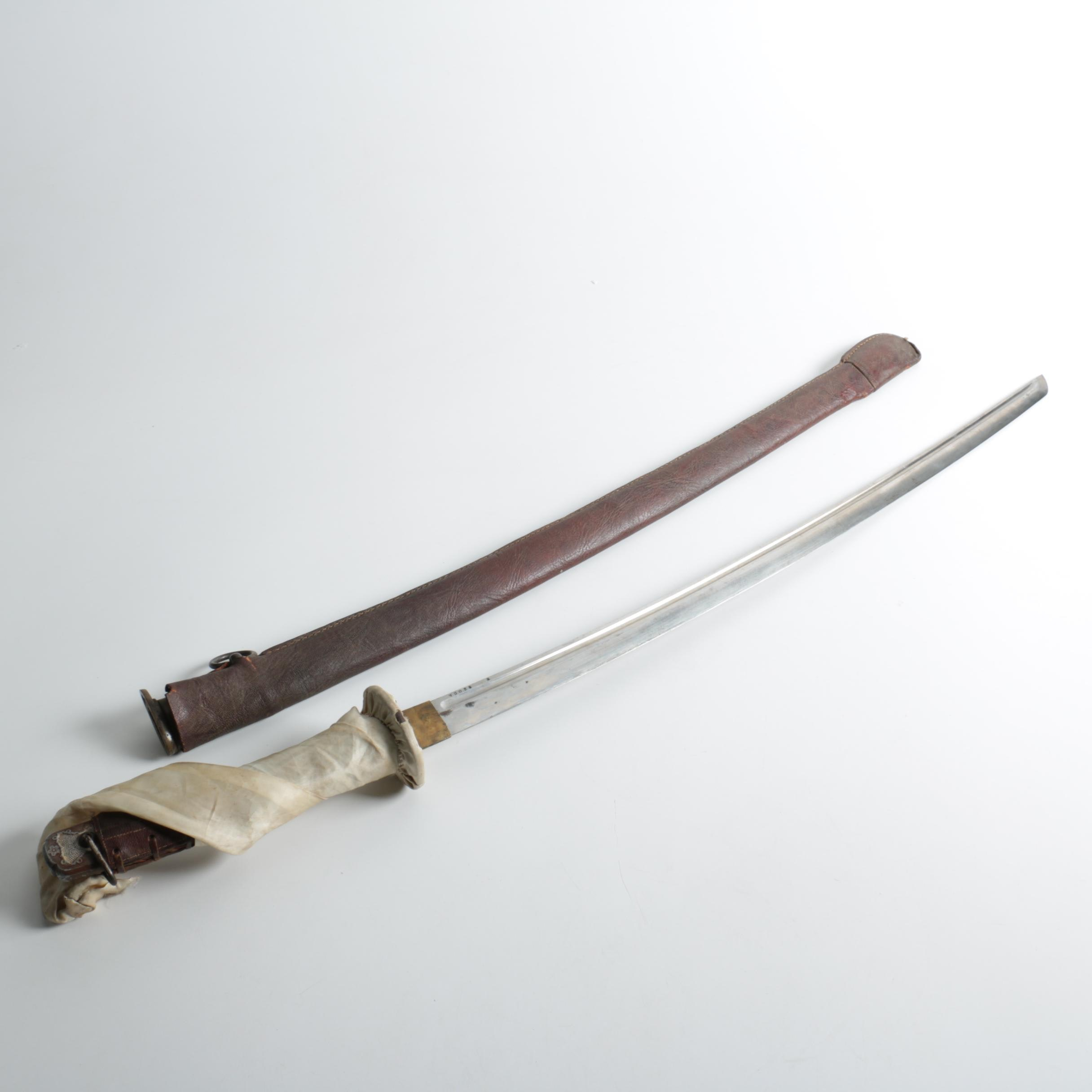 World War II Japanese NCO Shin Guntō Sword in Leather Wrapped Scabbard