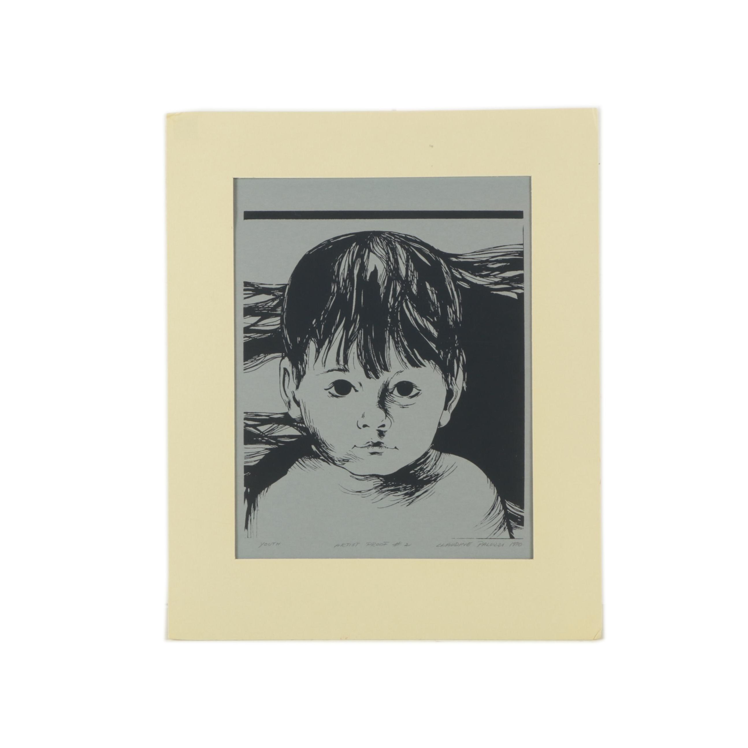 """Claudine Paluzzi 1970 Limited Edition Serigraph on Paper """"Youth"""""""