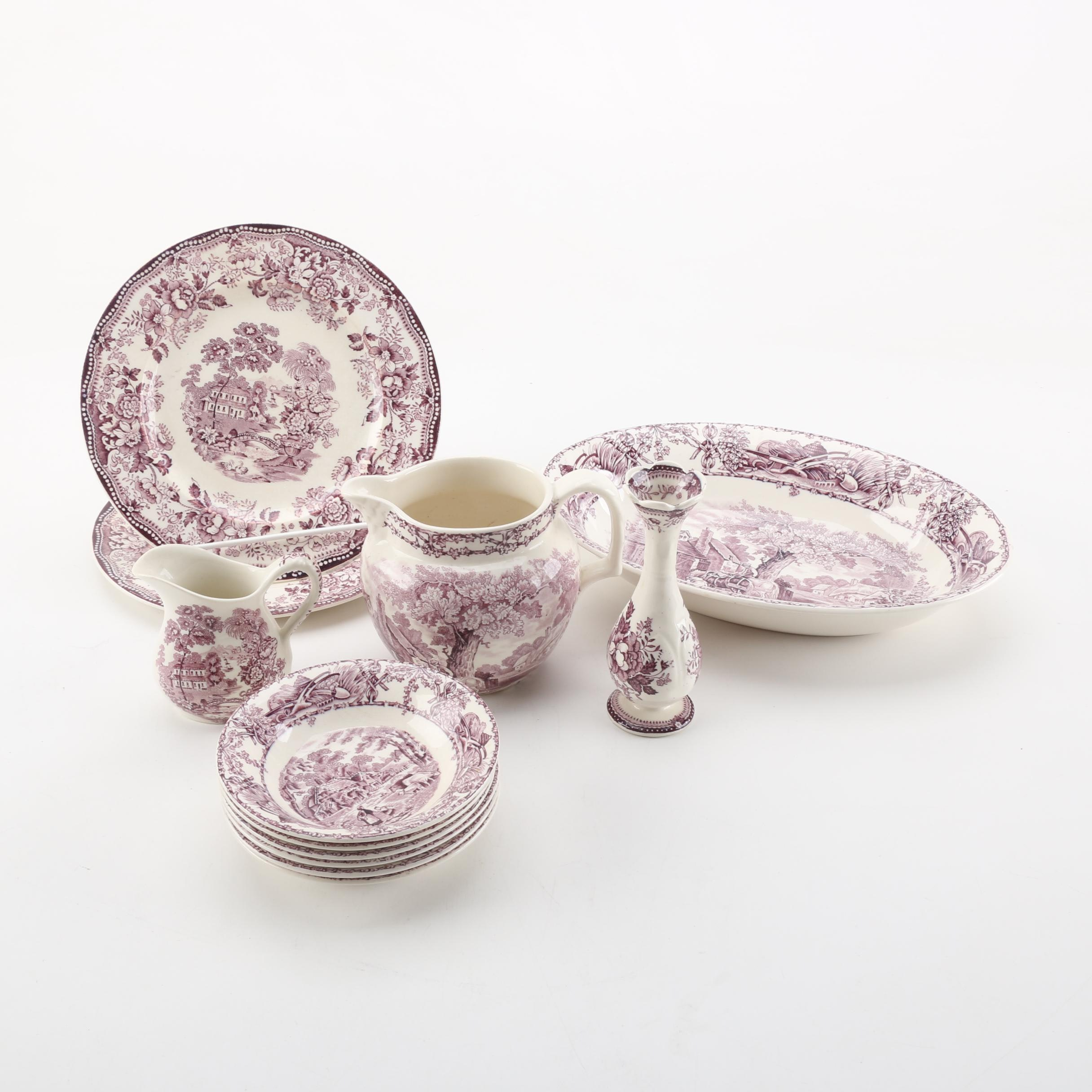 Clarice Cliff for Royal Staffordshire and A.J. Wilkinson Mulberry Transferware