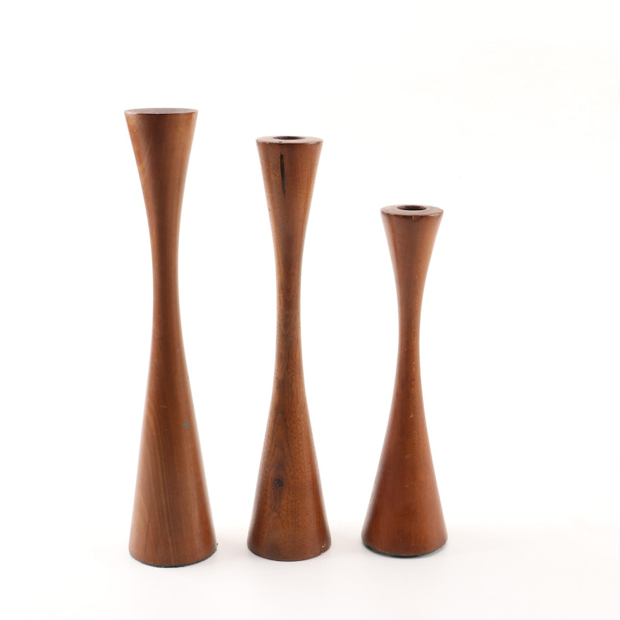 Danish Modern Wood Candle Holders