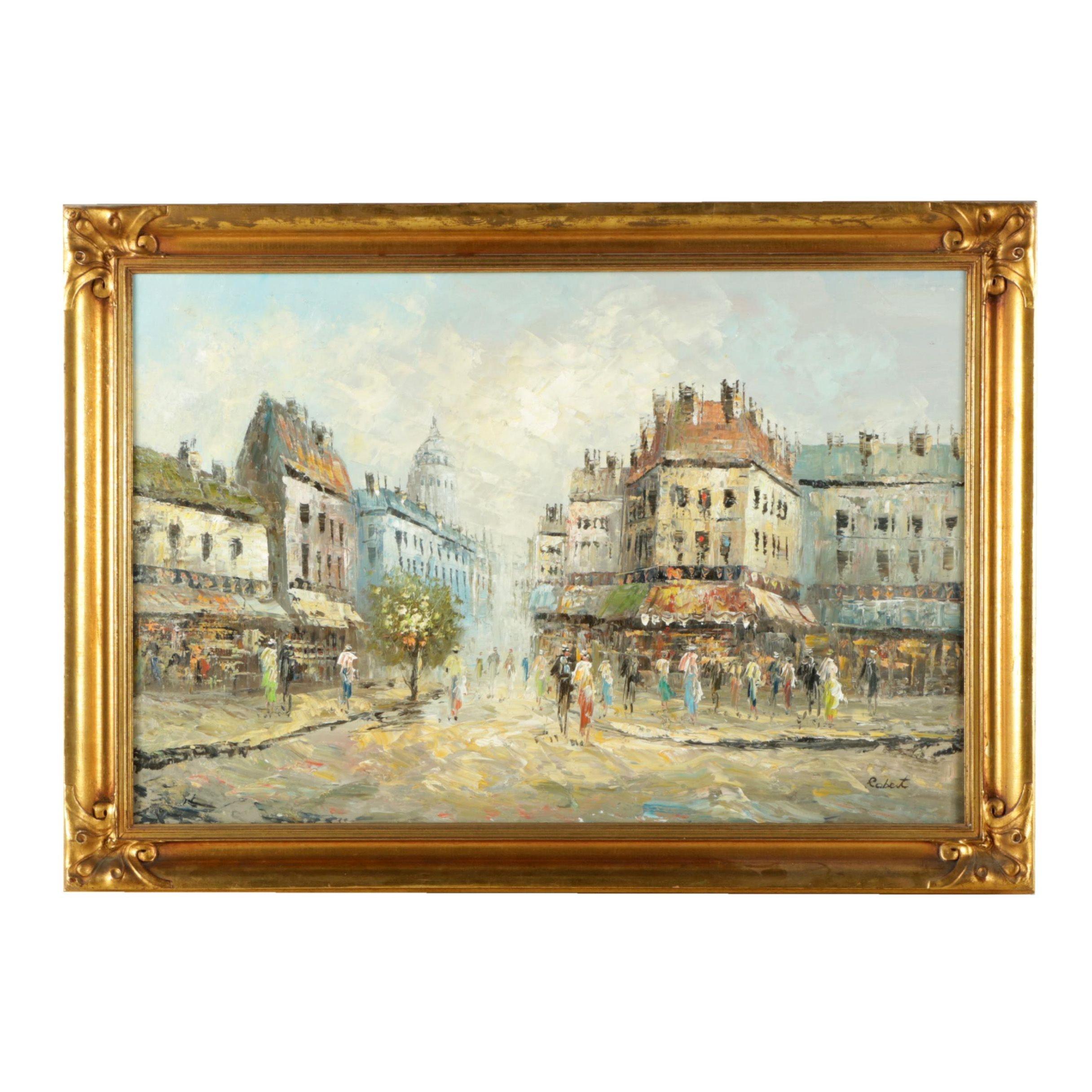Robert Oil Painting on Canvas of a European Street Scene