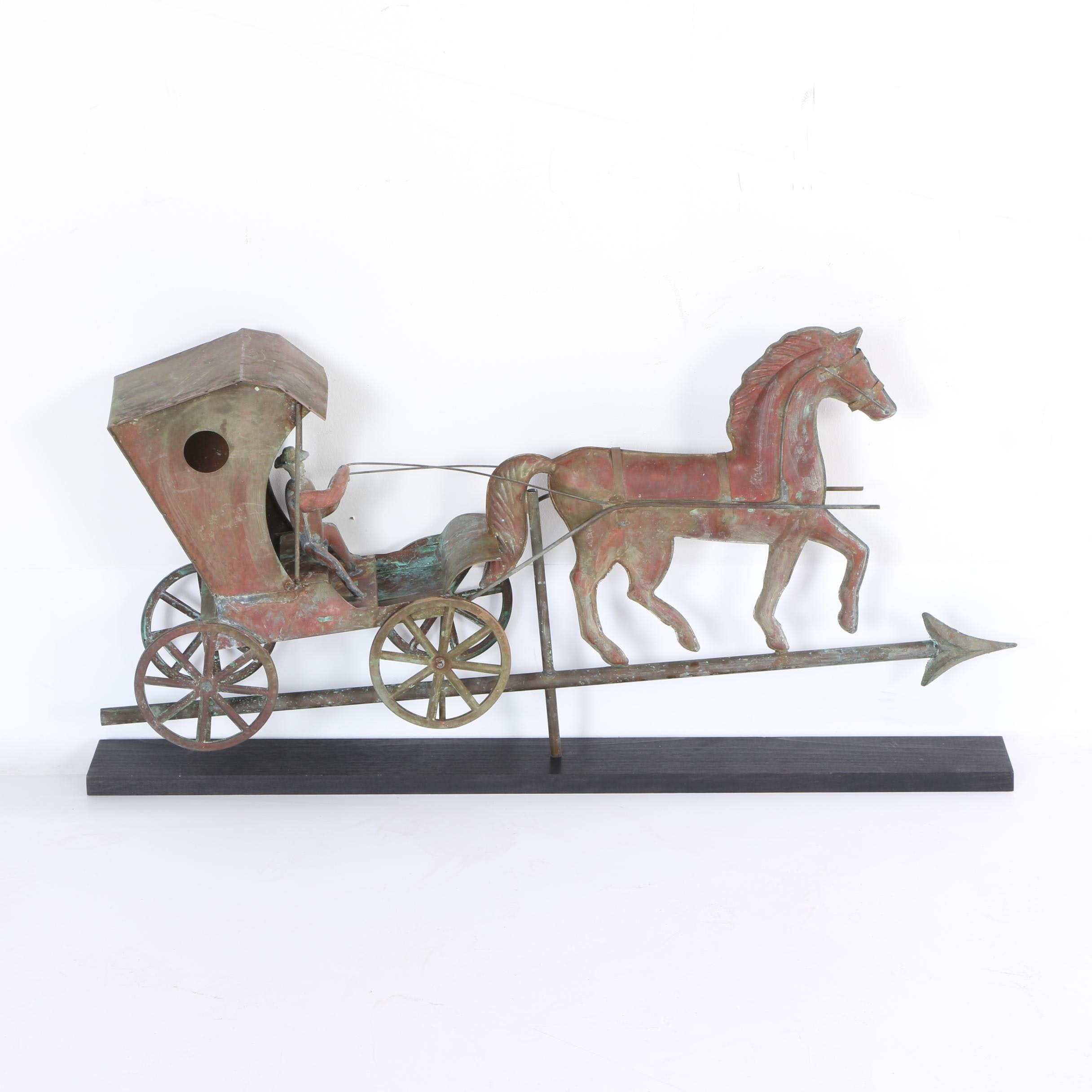 Vintage Copper Horse And Buggy Weathervane
