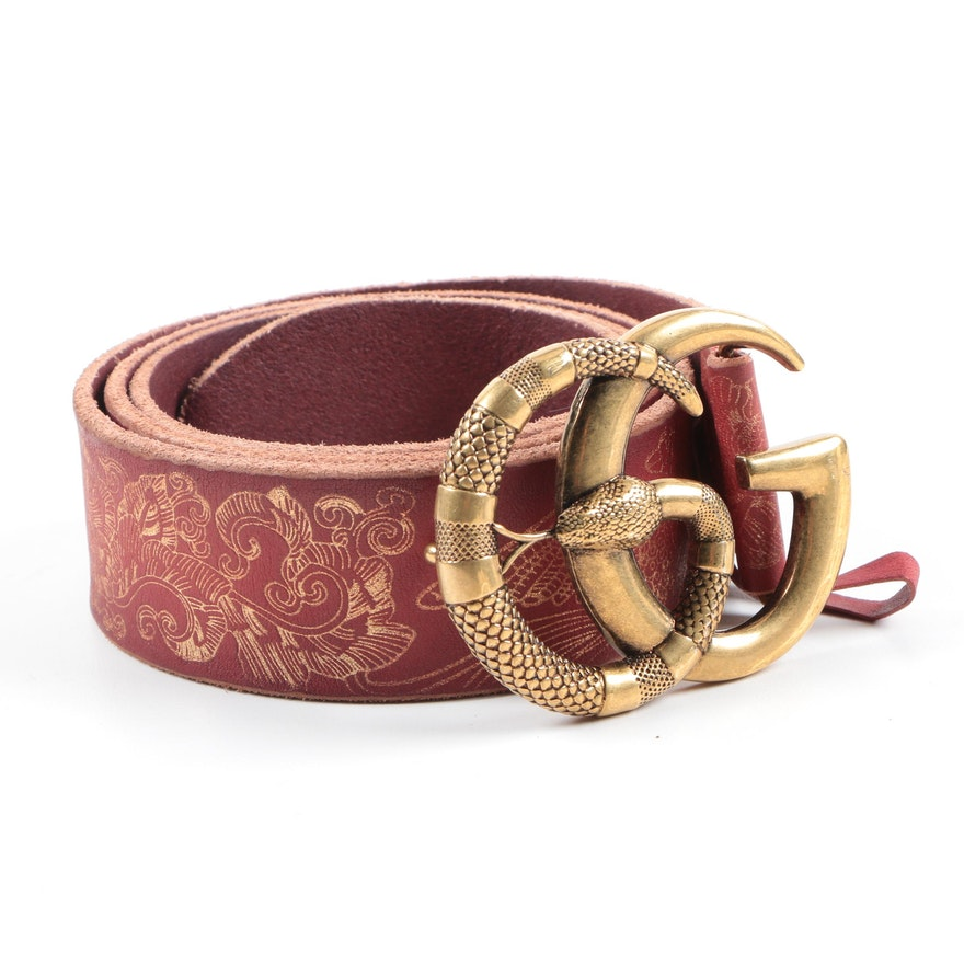 a9c5b9f734a01 Gucci Red Leather Belt with Snake Buckle | EBTH
