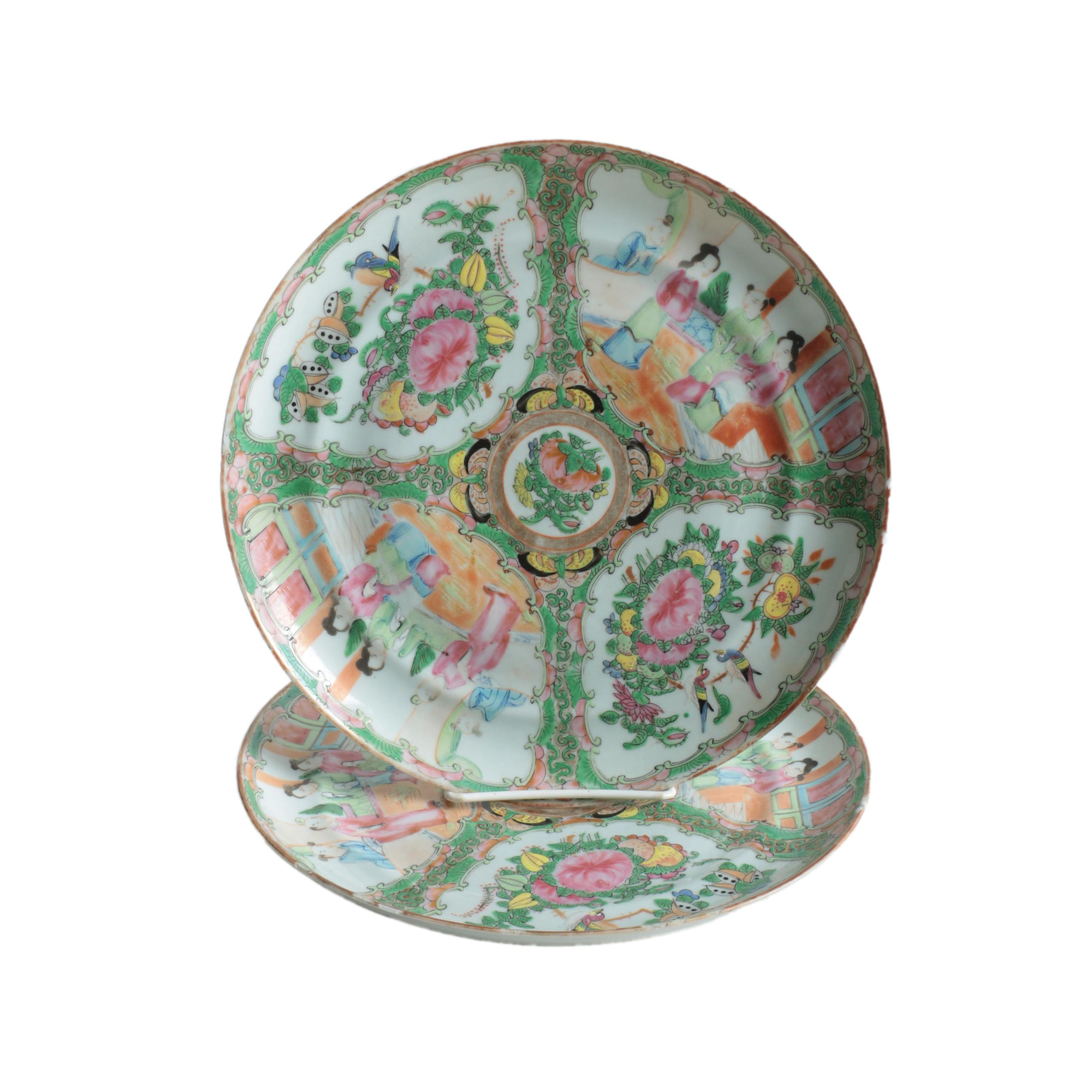 """Antique Chinese """"Rose Medallion"""" Plates"""